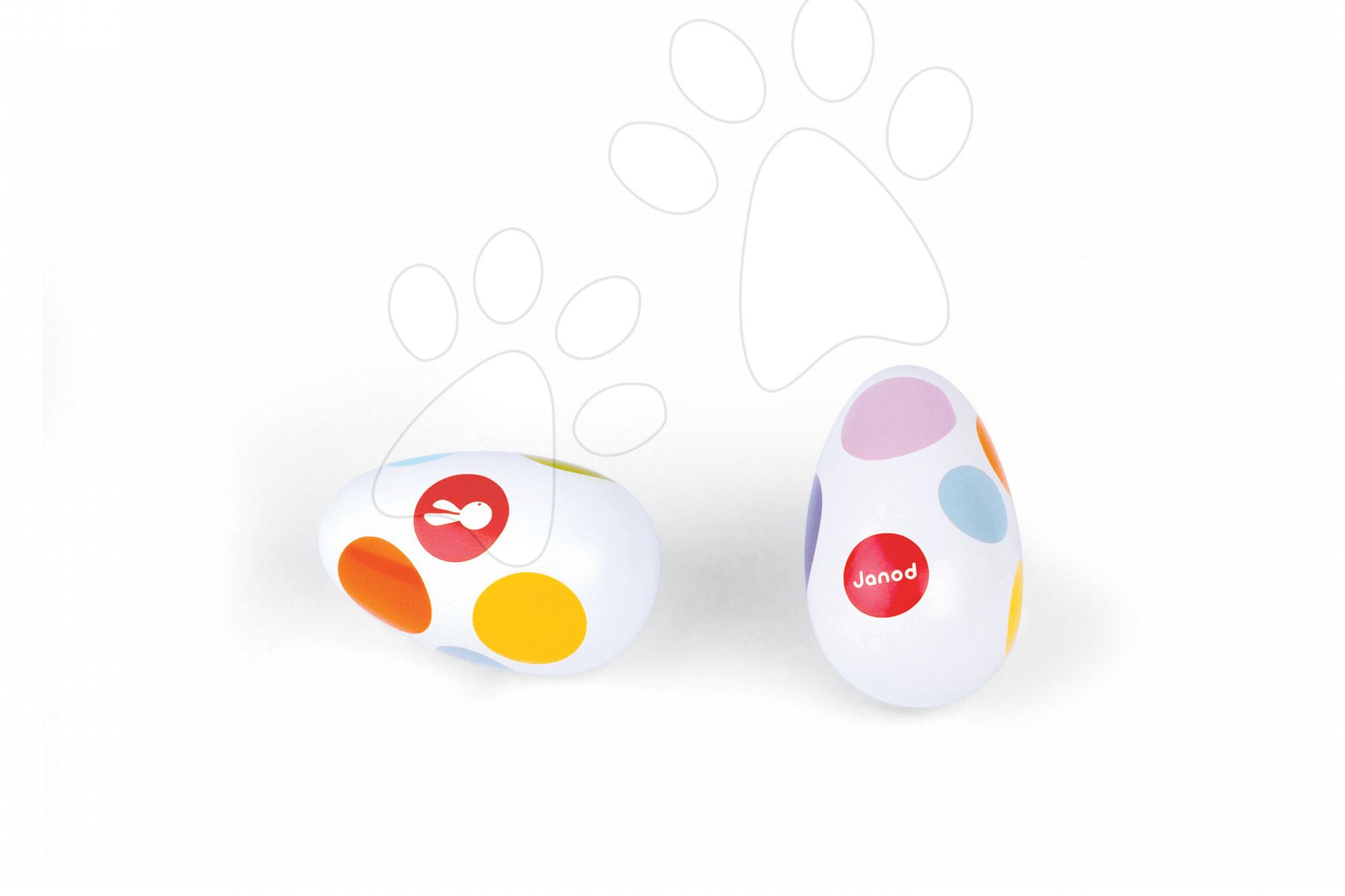 Detské hudobné nástroje - Drevené hrkajúce vajíčko Confetti Shaking Egg Janod od 12 mes