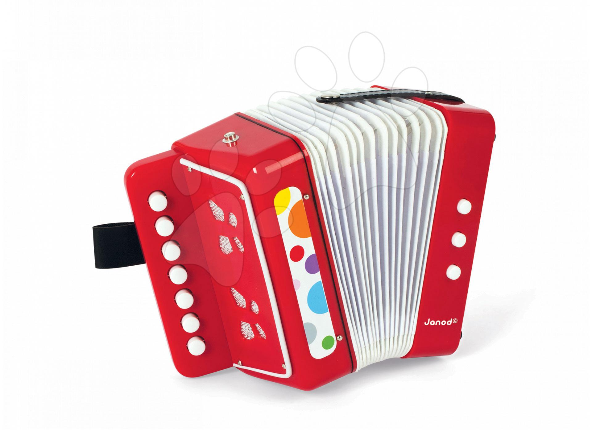 Detské hudobné nástroje - Akordeón Confetti Acordion Janod s realistickým zvukom od 3 rokov