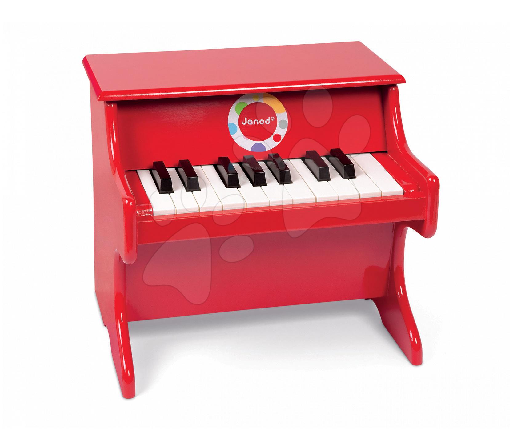 Detské hudobné nástroje - Drevený klavír Confetti Red Piano Janod s realistickým zvukom od 3 rokov