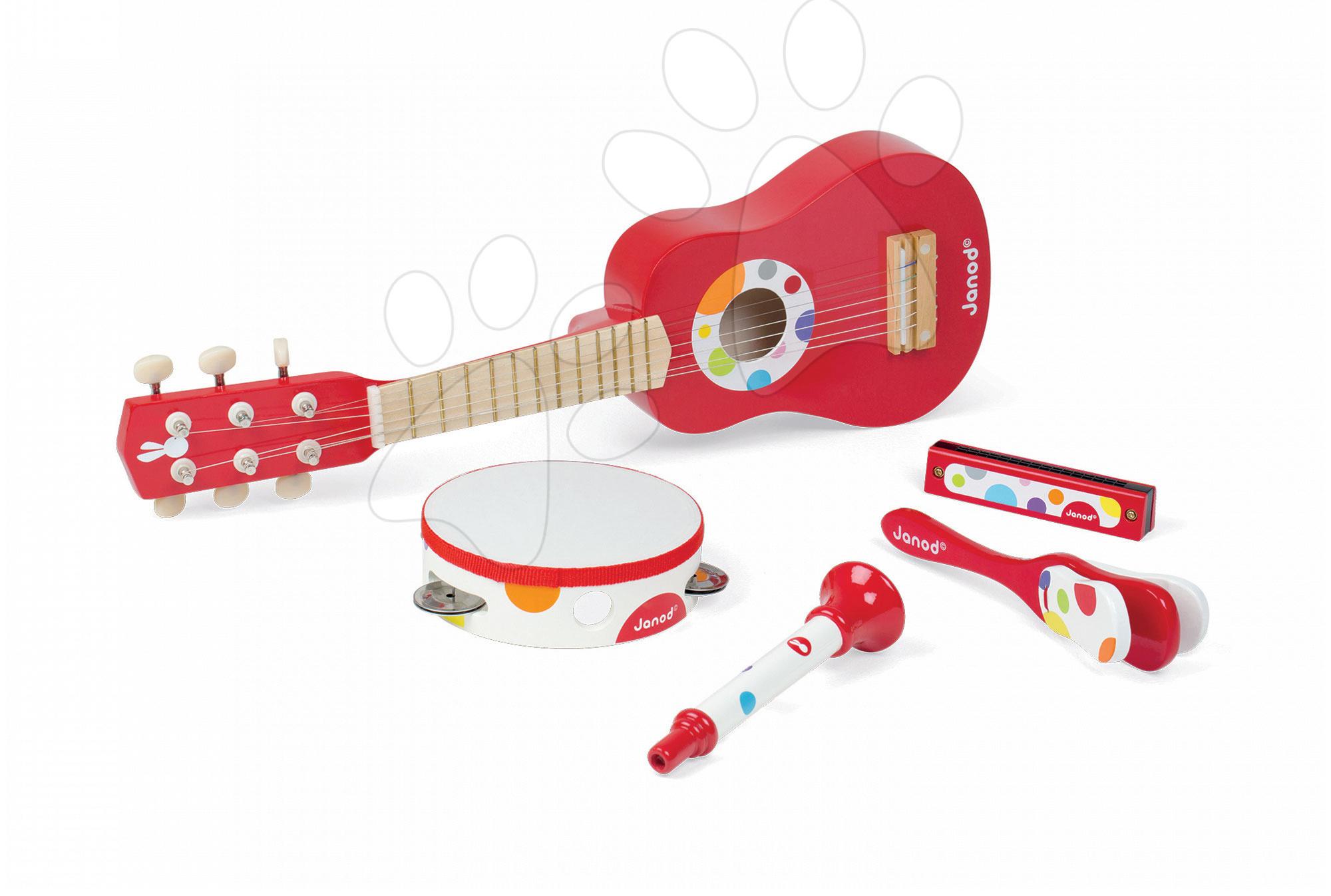 Detské hudobné nástroje - Sada 5 drevených hudobných nástrojov Confetti Music Live Janod gitara, harmonika, trúbka, tamburína a kastanety od 3 rokov