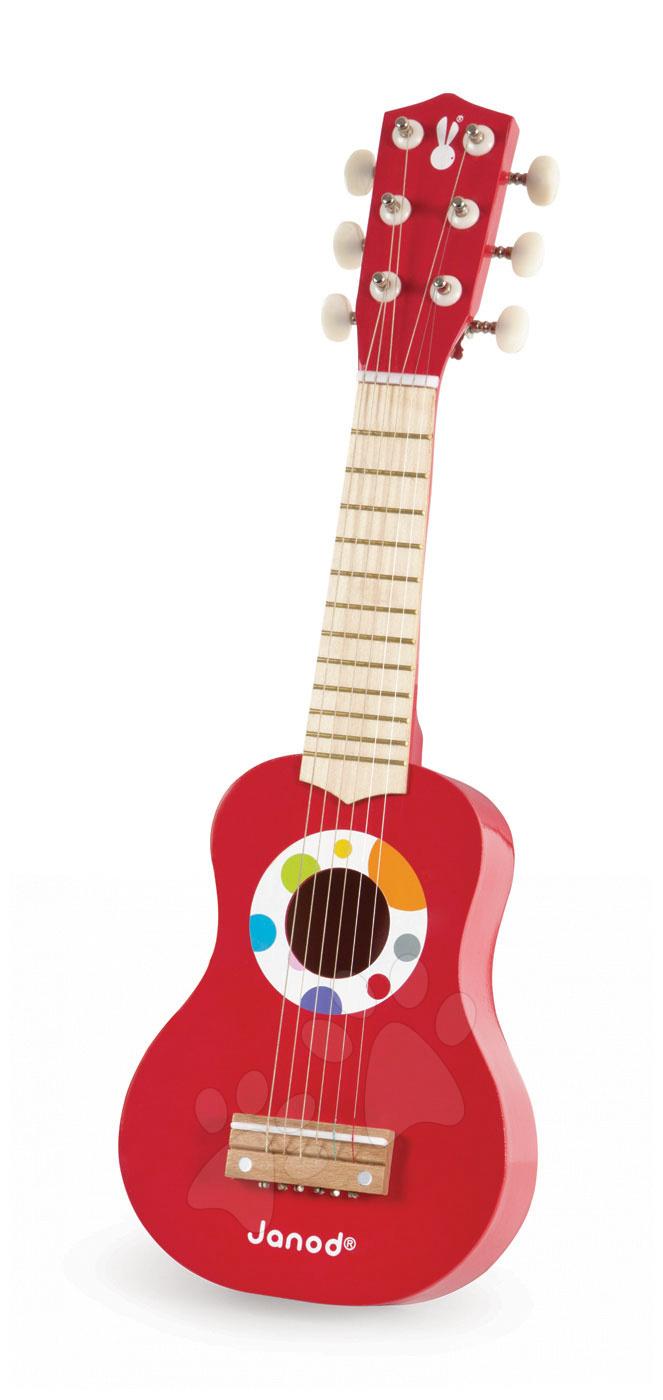 Dřevěná kytara My First Confetti Guitar Janod s realistickým zvukem délka 53,5 cm červená od 3 let