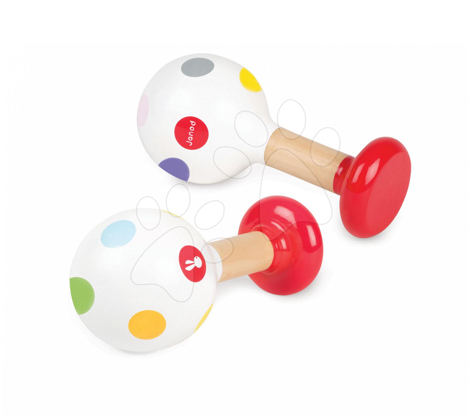 Detské hudobné nástroje - Drevené rumbagule Confetti Maracas Janod od 12 mes