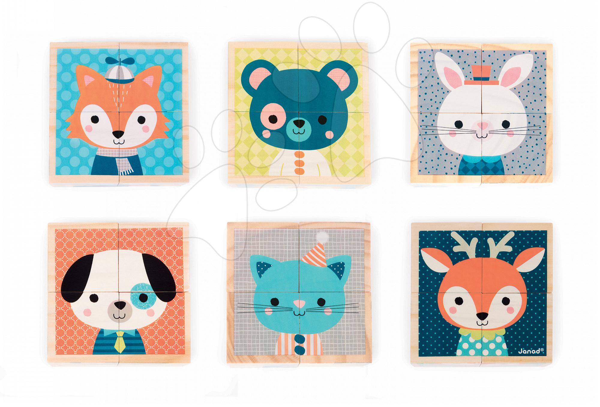 Rozprávkové kocky - Drevené kocky Lesné zvieratká Baby Forest Janod rozprávkové 4 ks od 12 mes