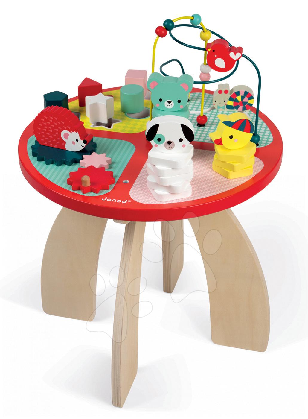 Dřevěný didaktický stůl Baby Forest Janod s lesními zvířátky a různými funkcemi od 12 měsíců
