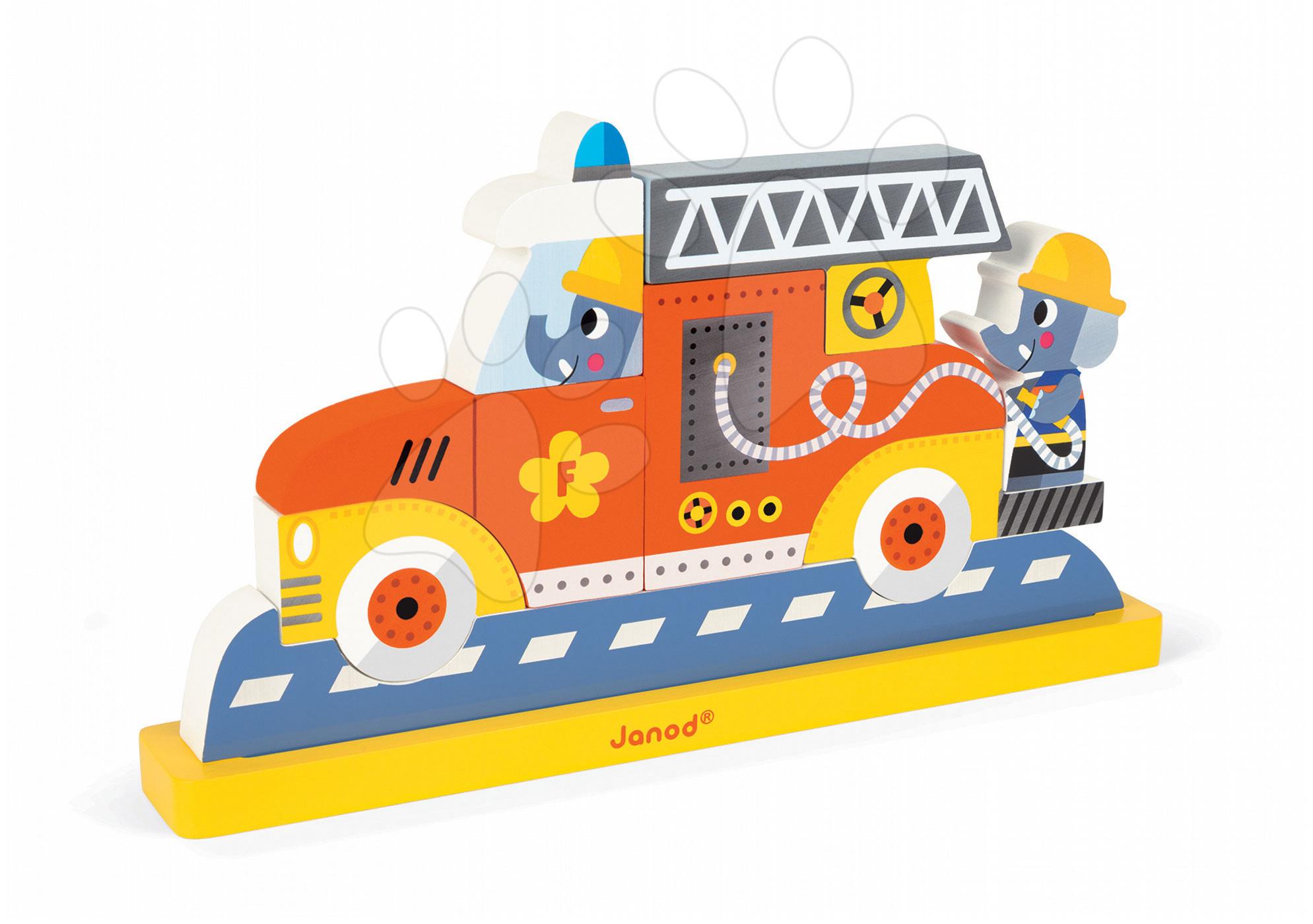 Dřevěné magnetické puzzle Hasičské auto Vertical Janod 8 dílů od 18 měsíců