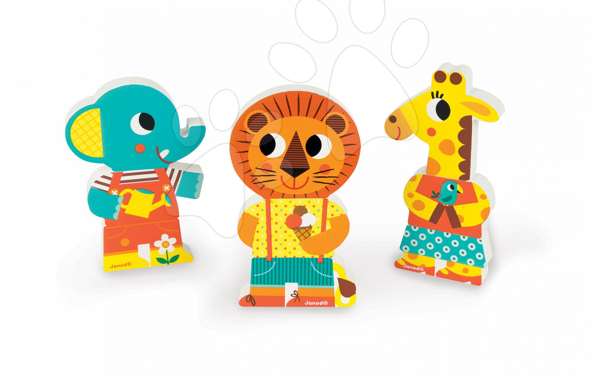Dřevěné magnetické figurky Zoo Funny Magnets Janod 3 ks od 18 měsíců