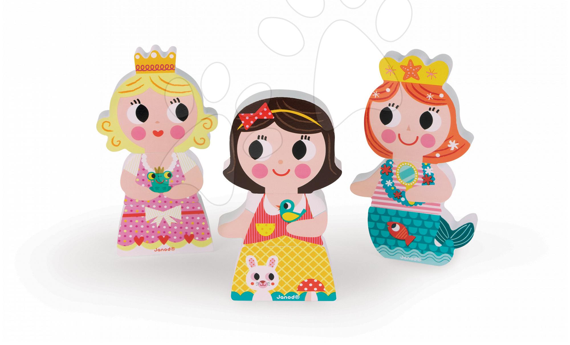 Dřevěné magnetické figurky Princezny Funny Magnets Janod 3 ks od 18 měsíců