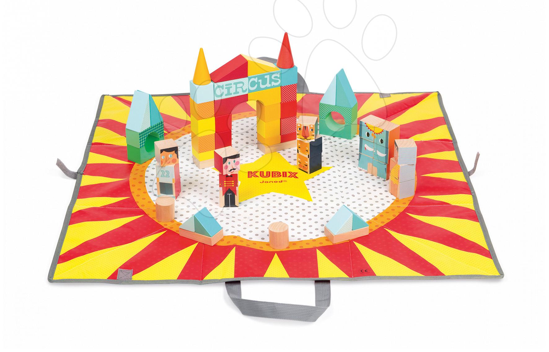 Janod drevené kocky na podložke Cirkus Kubix 08079