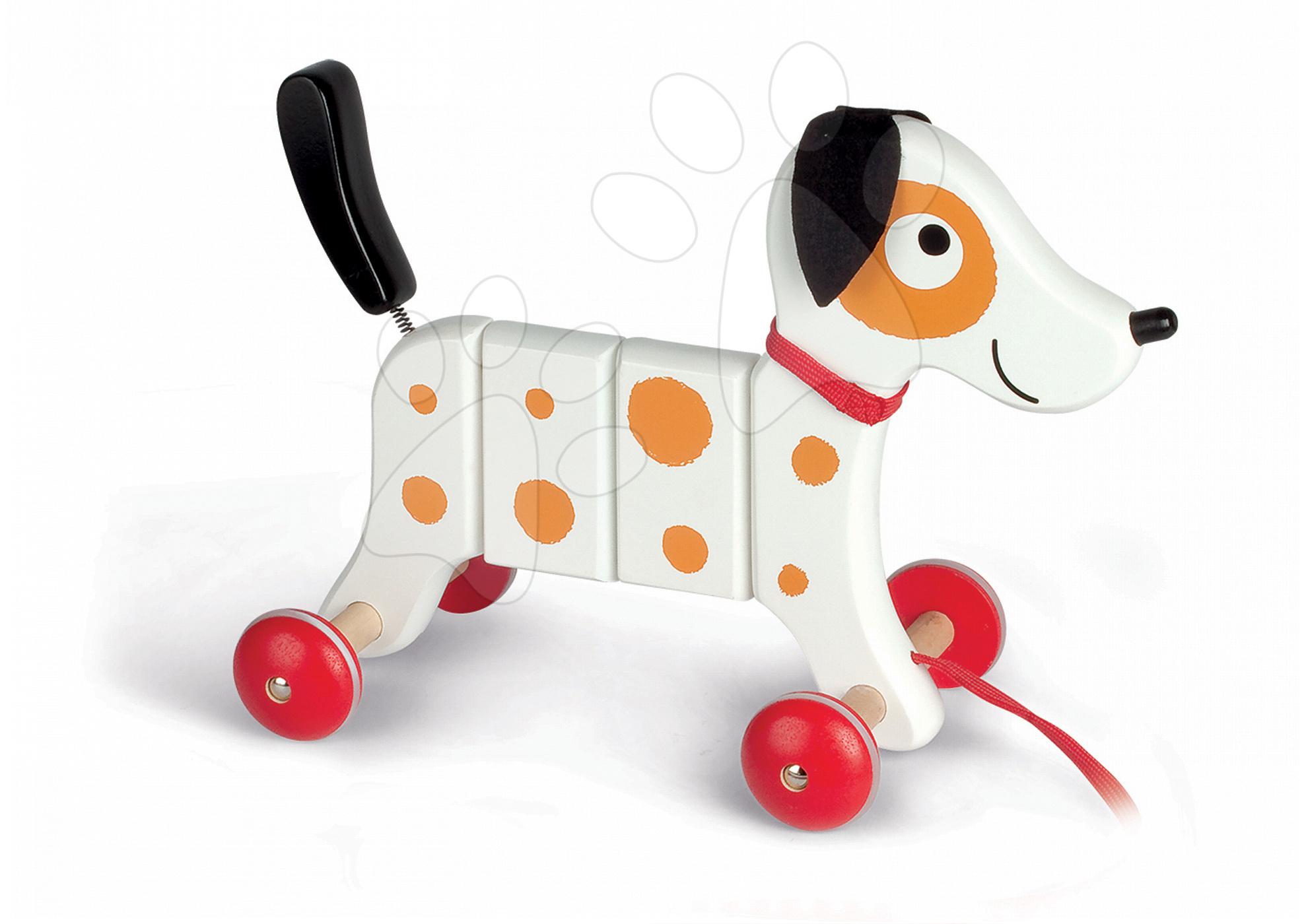 Dřevěný pes Rocky Janod na tahání s taškou od 12 měsíců