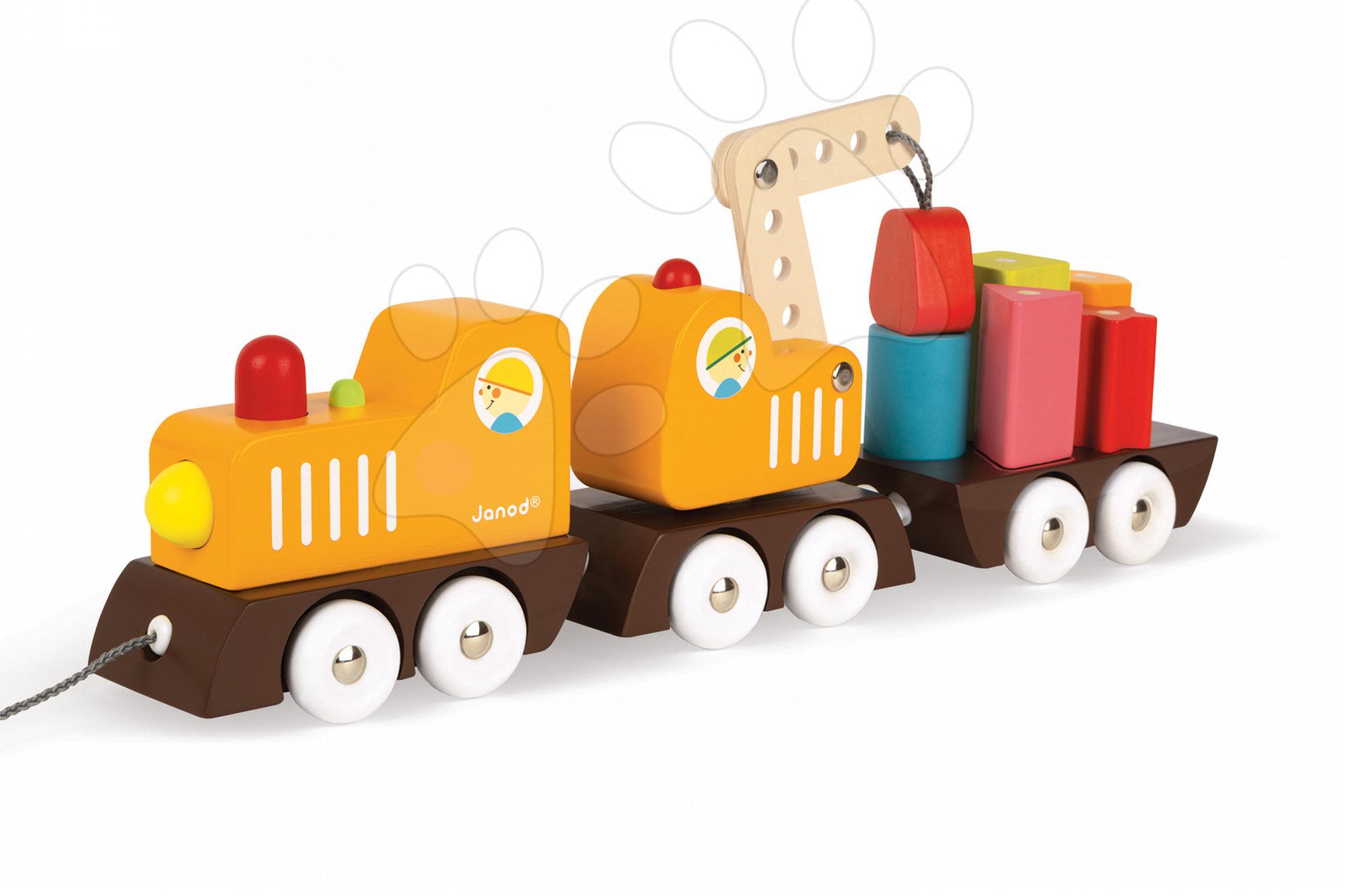 Nákladné autá - Drevený magnetický vlak Multi Crane Train Janod na ťahanie so žeriavom od 24 mes