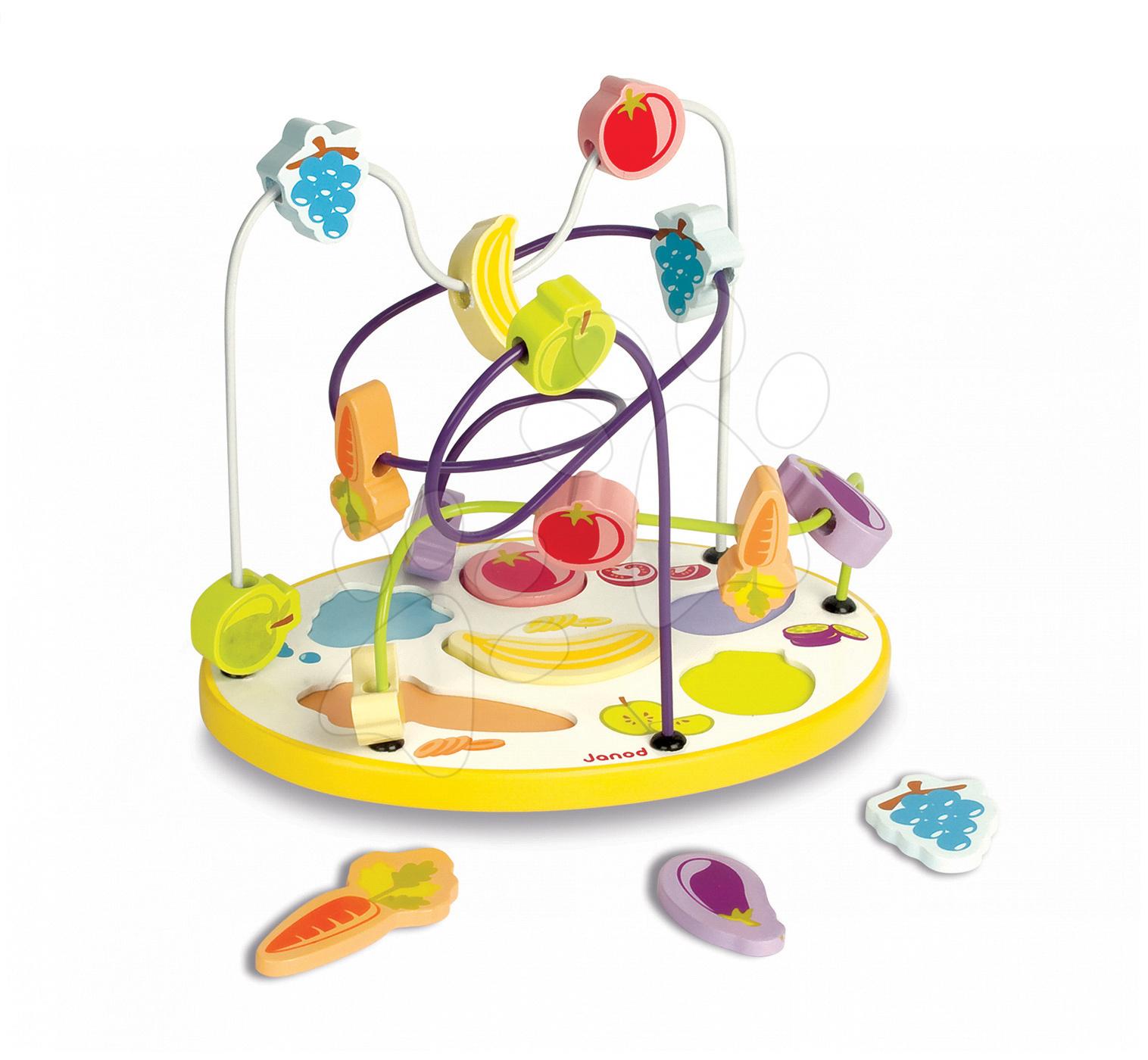 Vývoj motoriky - Drevený labyrint a puzzle Ovocie & zelenina Janod od 12 mes