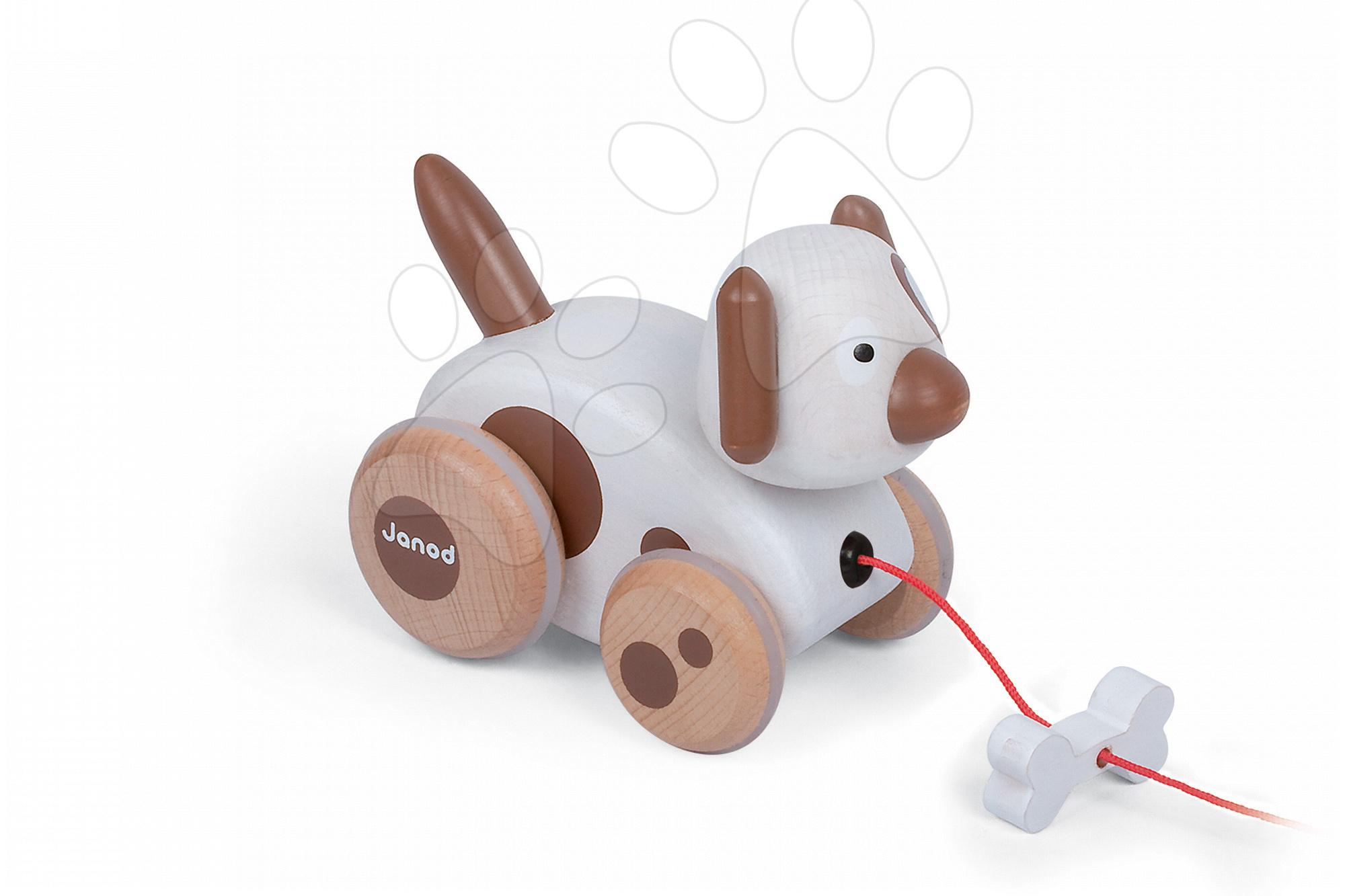 Ťahacie hračky - Drevený pes Pull Along Janod na ťahanie so zvukom od 12 mes