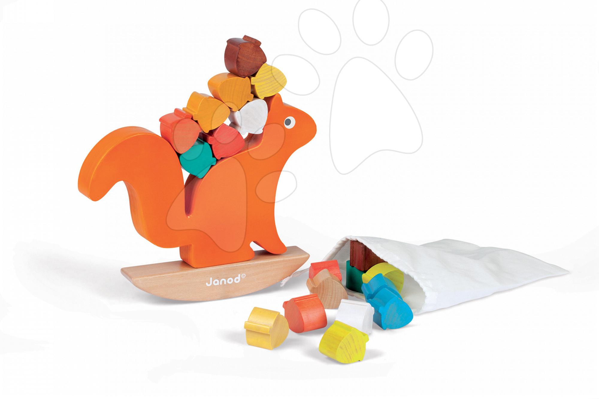 Dřevěná veverka s oříšky Janod hra na rovnováhu od 18 měsíců