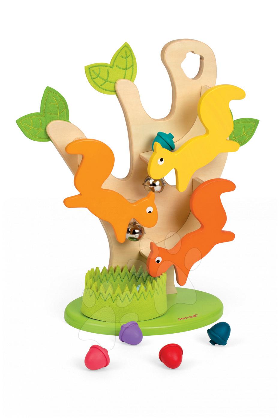 Vývoj motoriky - Drevený strom Janod s veveričkami a zvukom od 12 mes