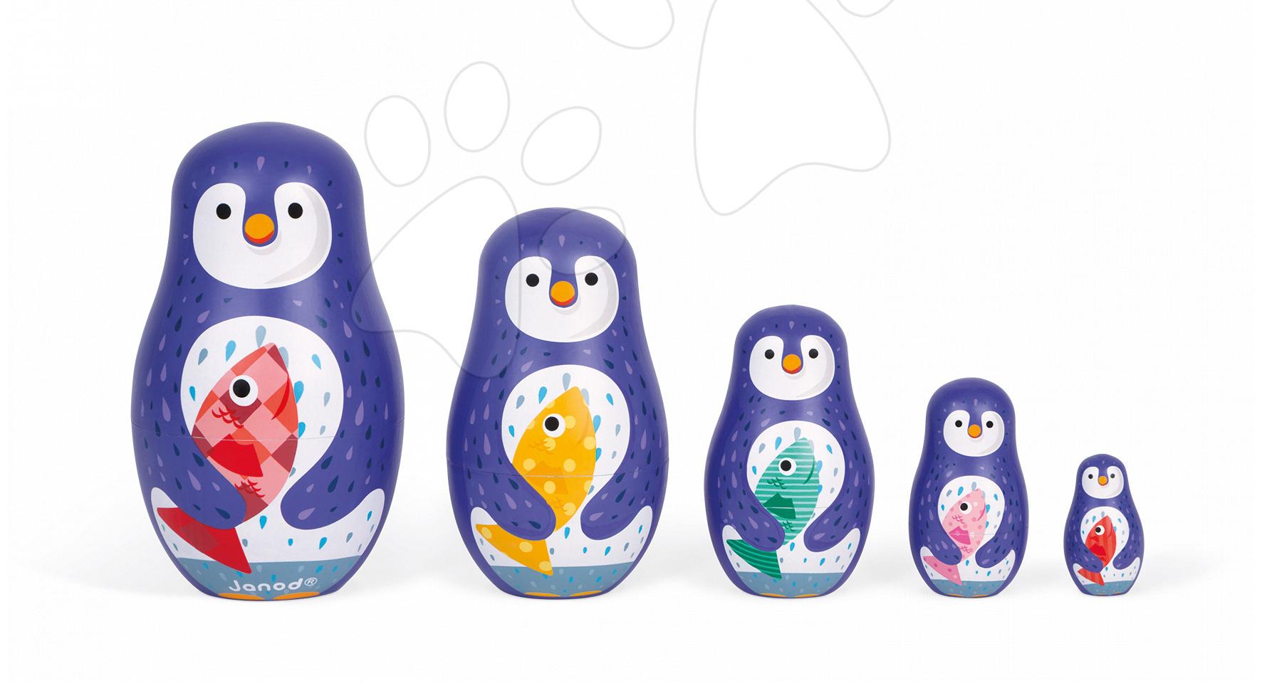 Dřevěné matrjošky Rodina tučňáků Zigolos Janod od 3 let
