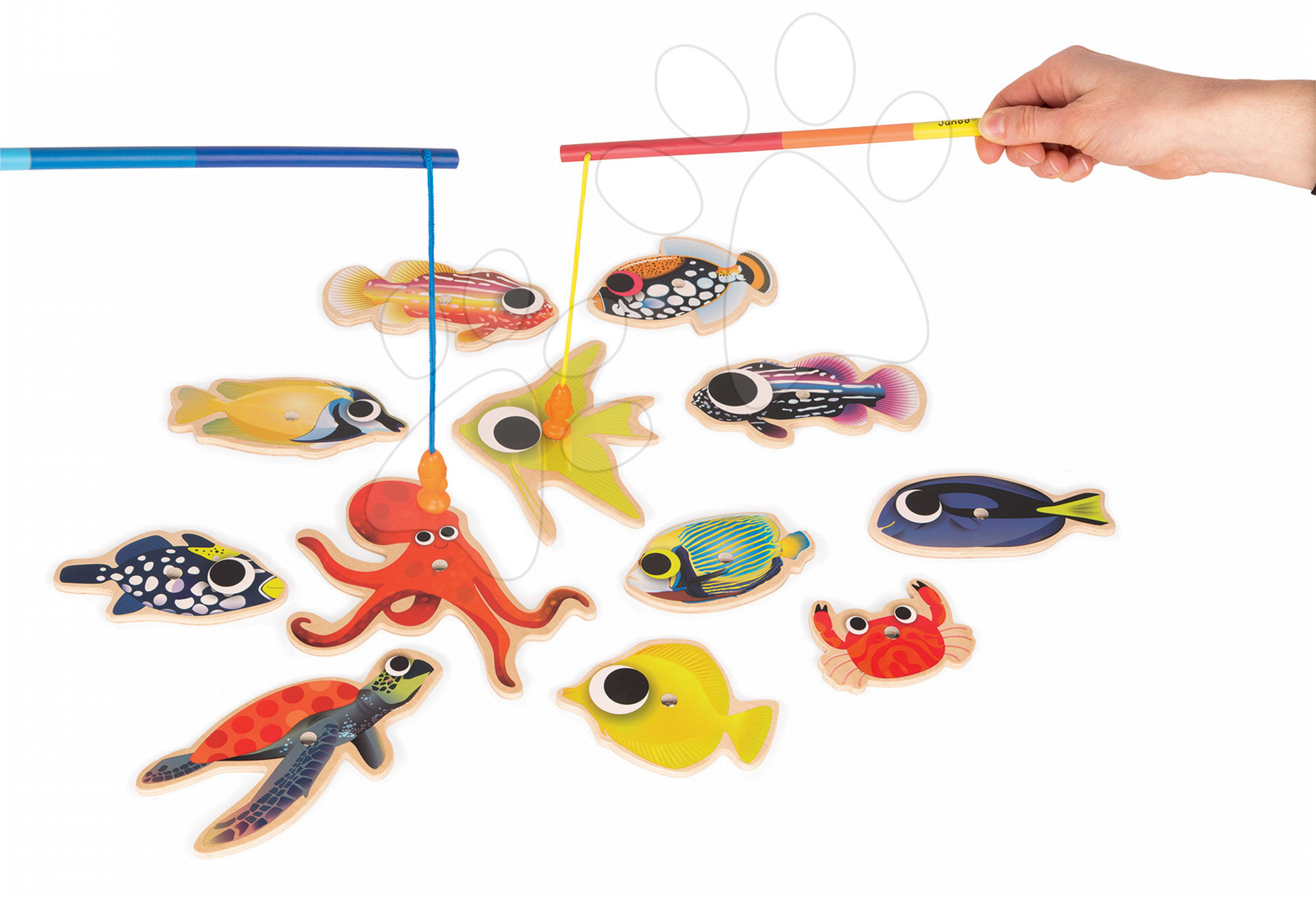 Hry na rybára - Drevené magnetické rybárske udice Tropical Fishing Janod a 12 rybičiek od 24 mes