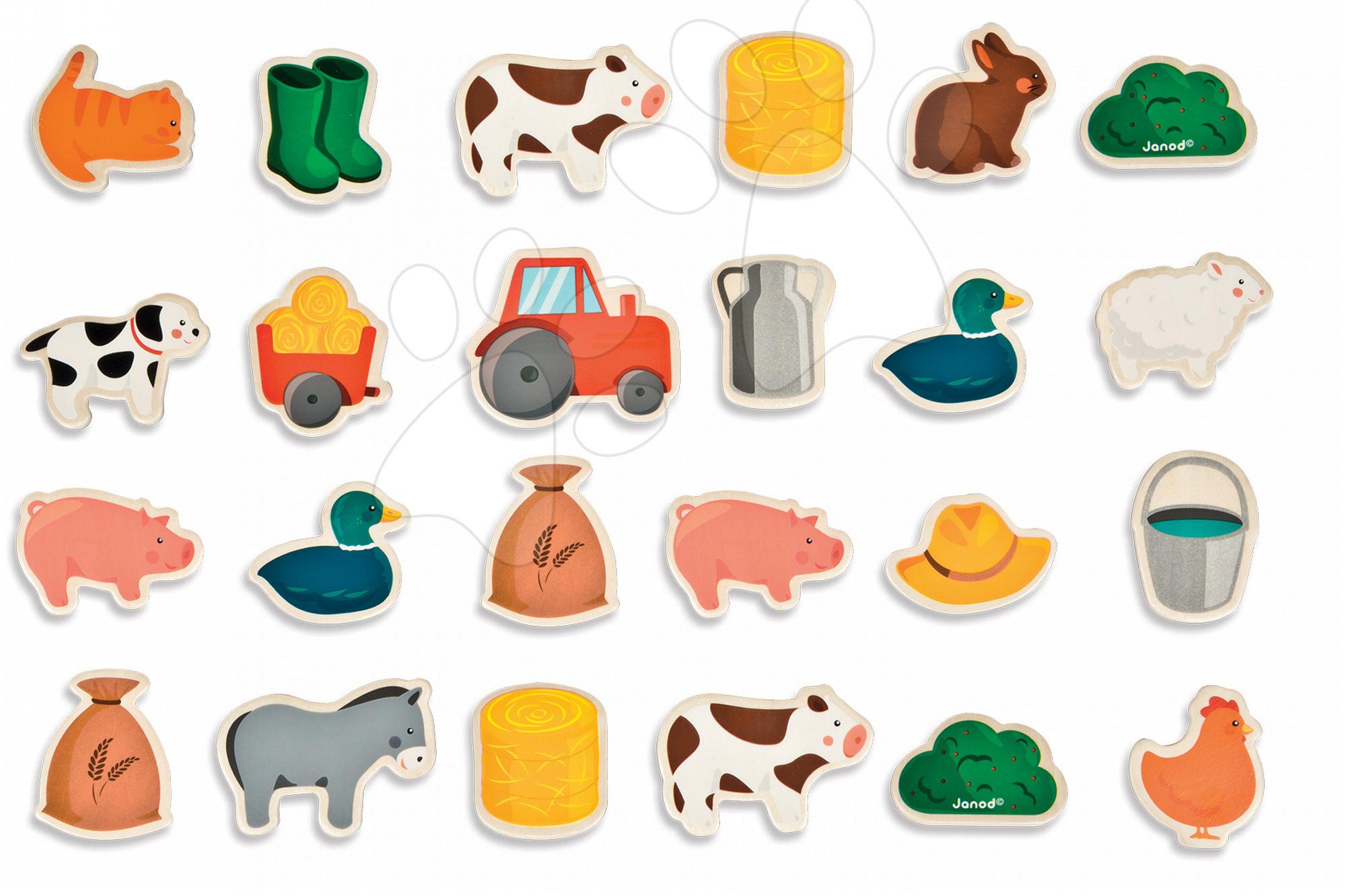 Magnetky pre deti - Drevené magnetky Farm Magnets Janod od 24 mes