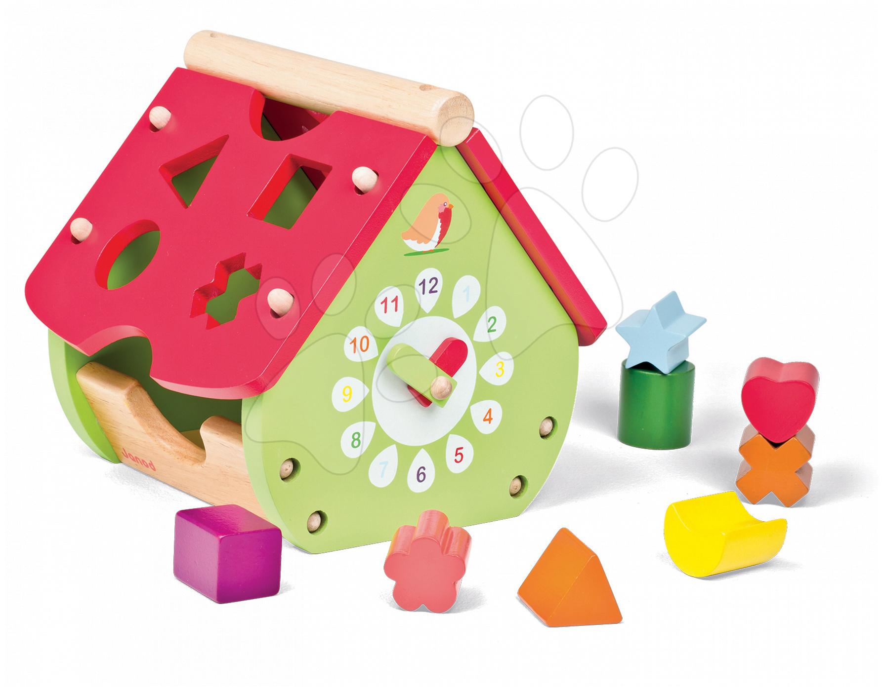 Vývoj motoriky - Drevený didaktický domček Janod záhradný s hodinkami a kockami od 18 mes