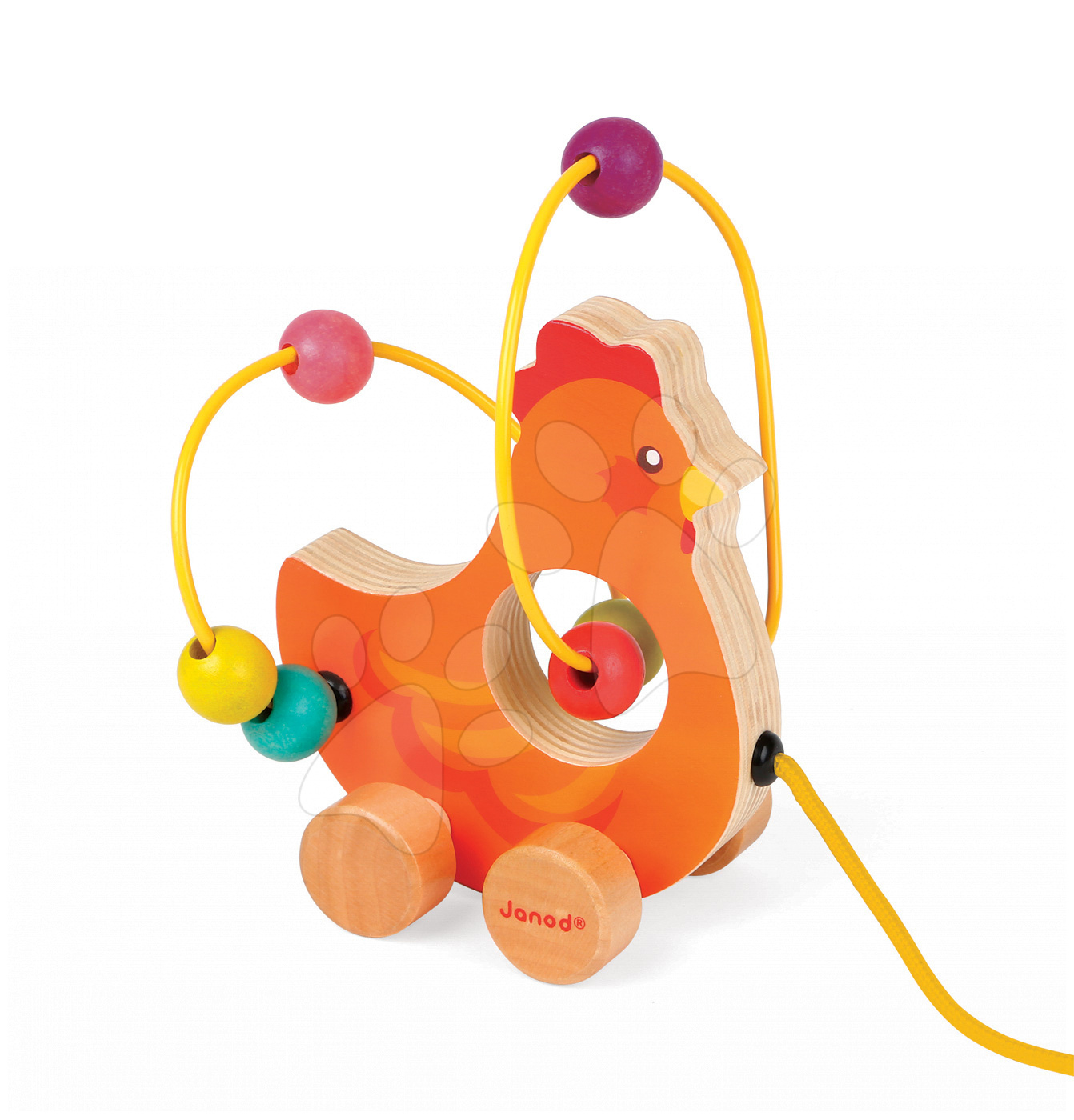 Ťahacie hračky - Drevená sliepočka Janod na ťahanie s labyrintom od 12 mes