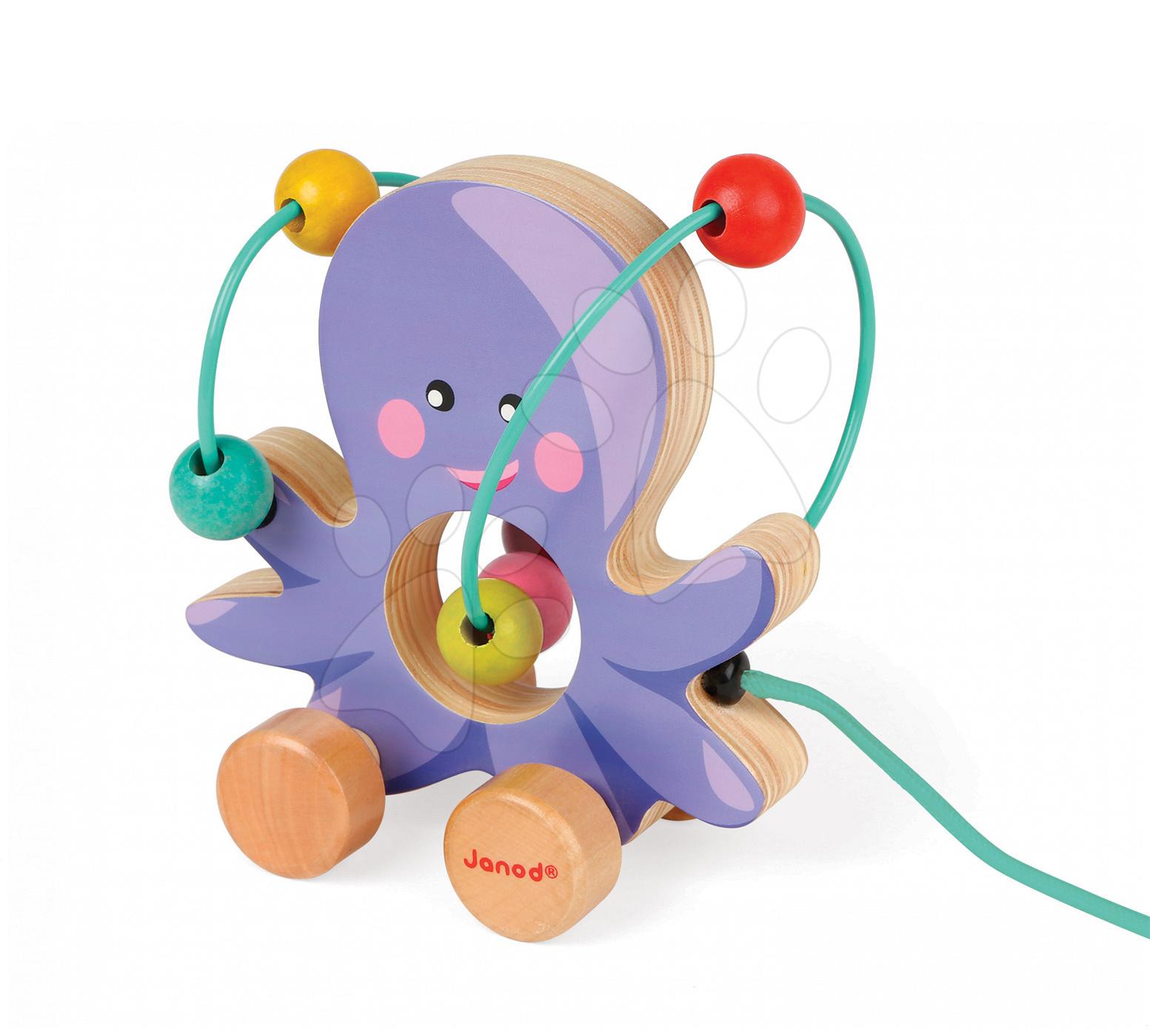 Ťahacie hračky - Drevená chobotnica Janod na ťahanie s labyrintom od 12 mes