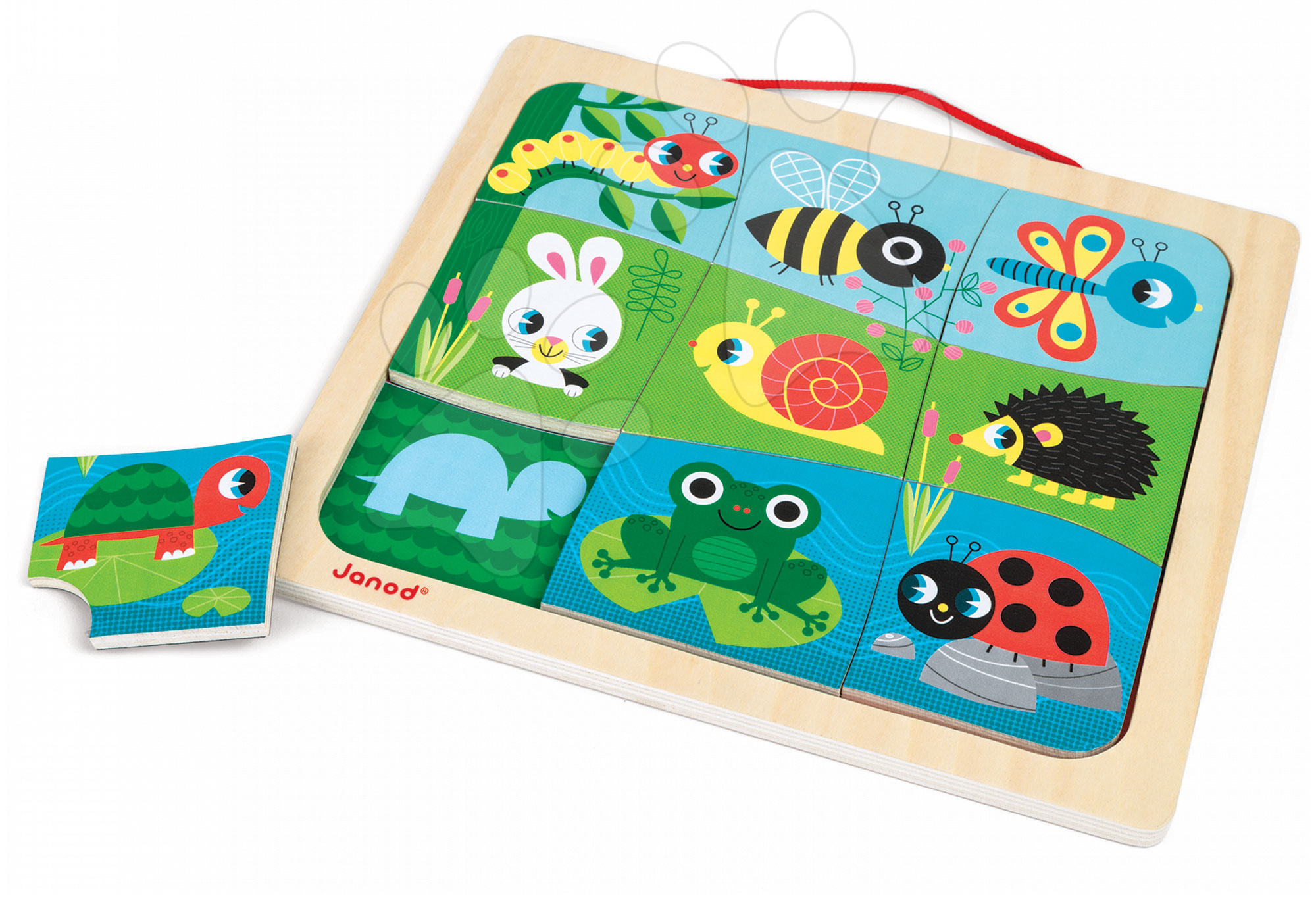 Dřevěné magnetické puzzle Happy Garden Magneto Janod 9 dílků od 18 měsíců