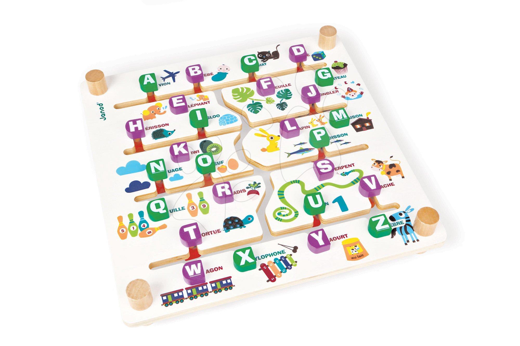 Cudzojazyčné spoločenské hry - Spoločenská hra Labyrinth Alphabet Game Janod angličtina-francúzština od 4 rokov