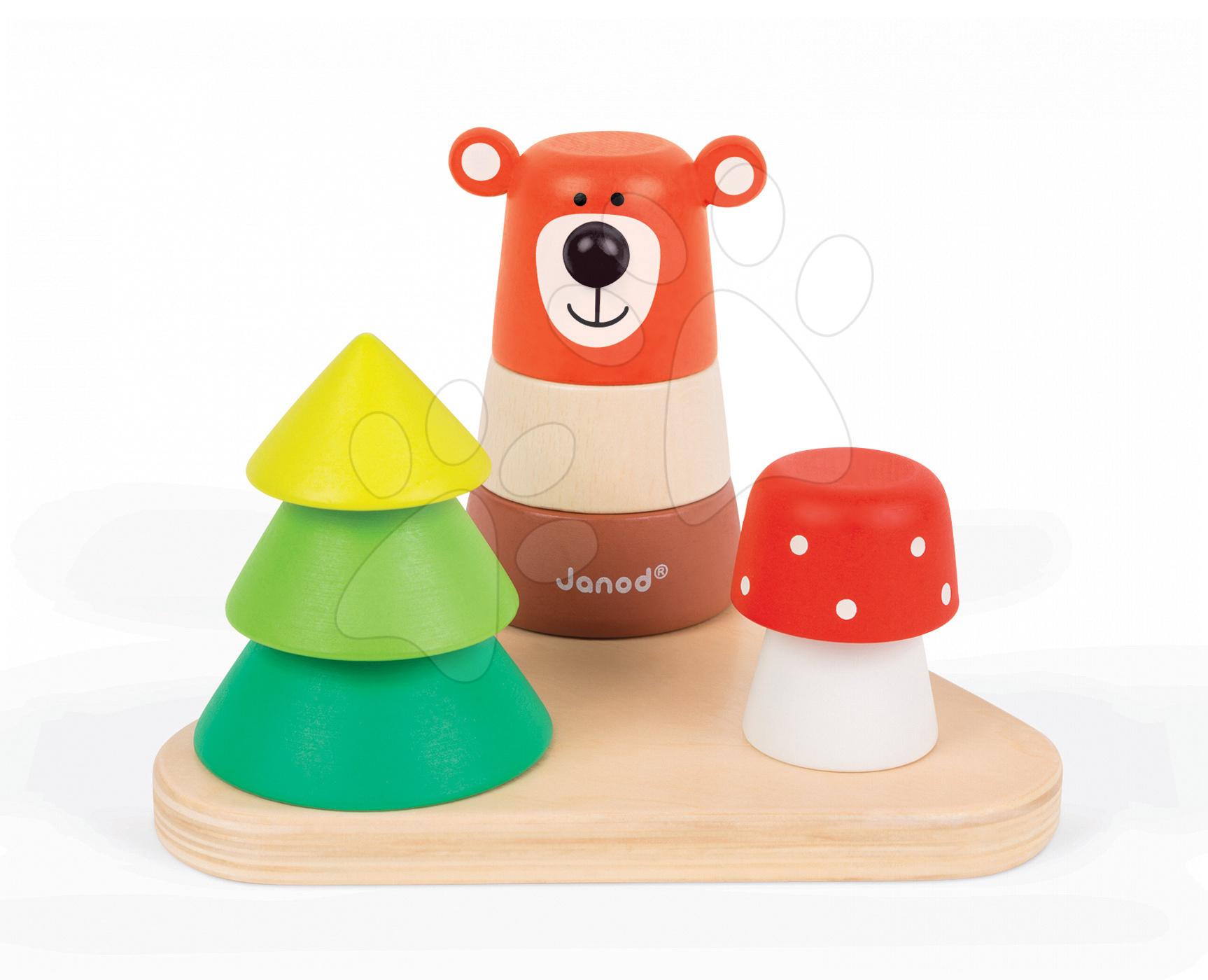 Dřevěná skládačka Medvěd v lese Gigolos Janod 9 dílků od 12 měsíců