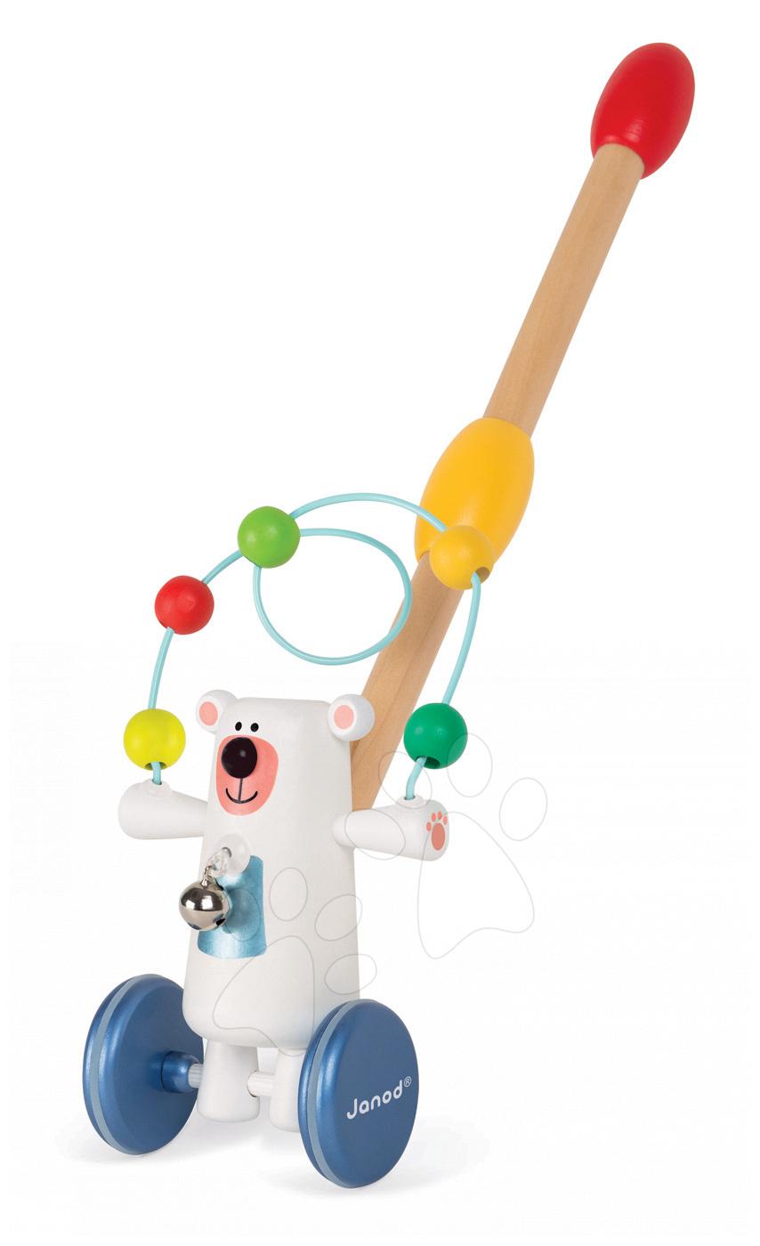 Ťahacie hračky - Drevený Medveď Zigolos Janod na tlačenie s labyrintom a zvončekom od 12 mes