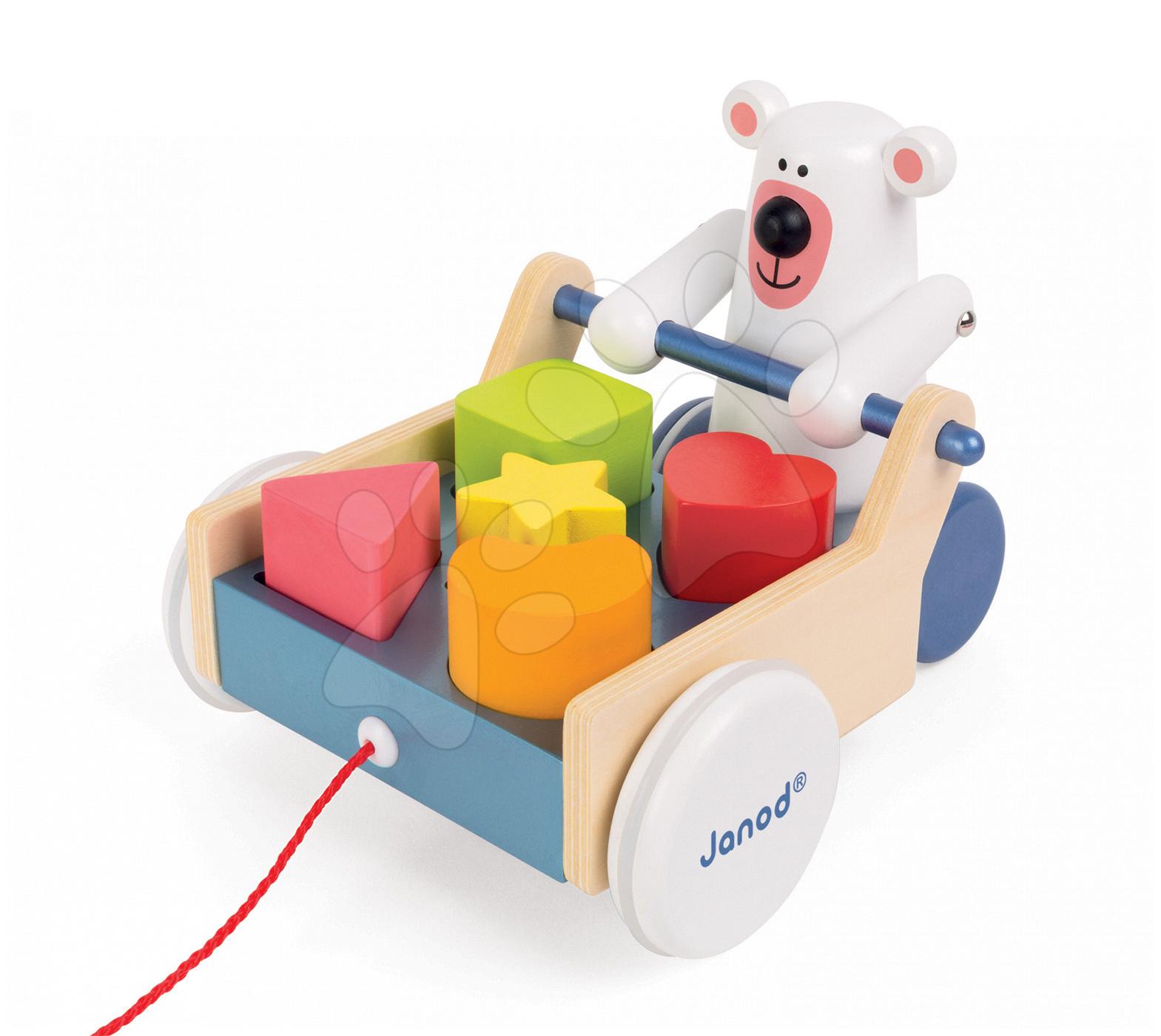 Ťahacie hračky - Drevený ťahací vozík Medveď Janod s vkladacími kockami od 12 mes