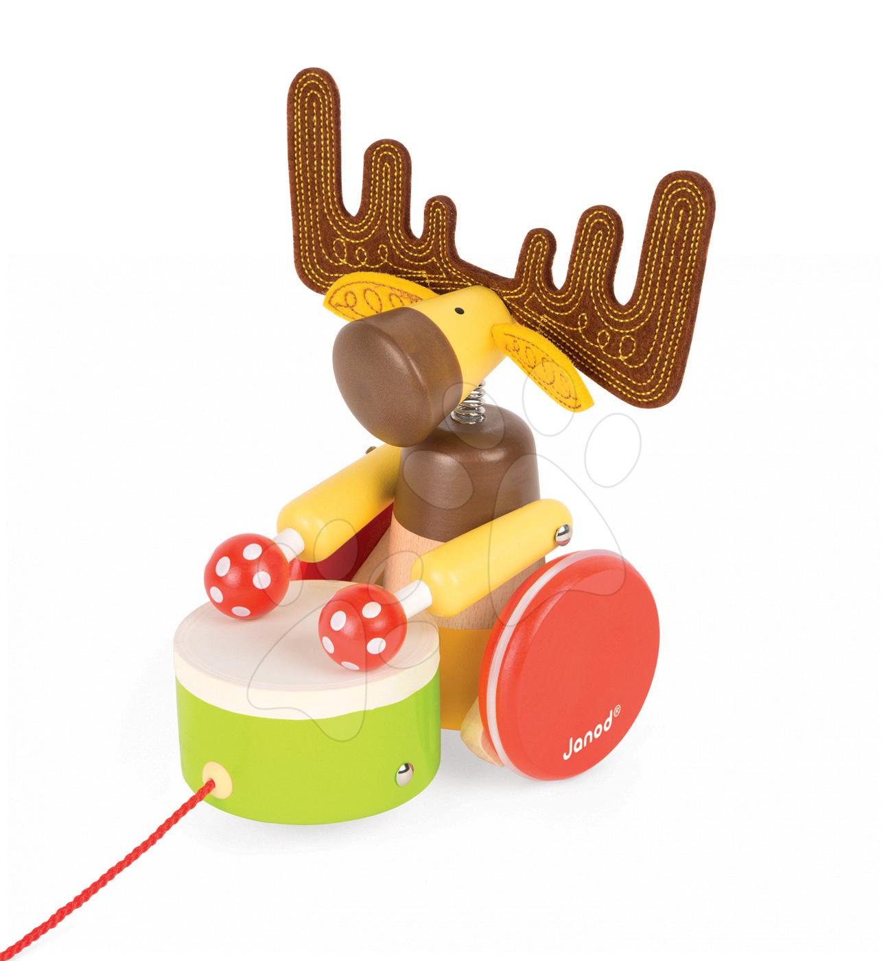 Ťahacie hračky - Drevený bubnujúci Sob Zigolos Janod na ťahanie od 12 mes