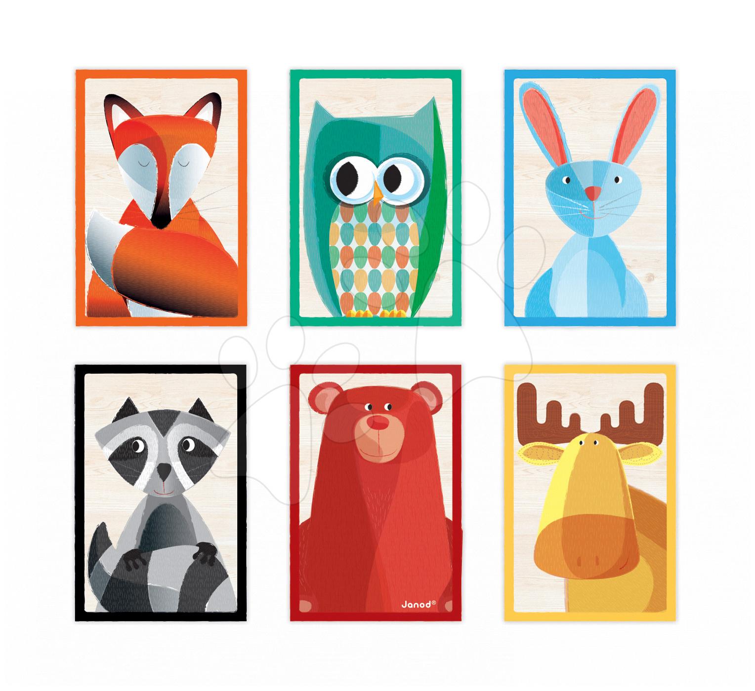 Rozprávkové kocky - Drevené kocky Lesné zvieratká Zigolos Janod v krabičke 6 kusov