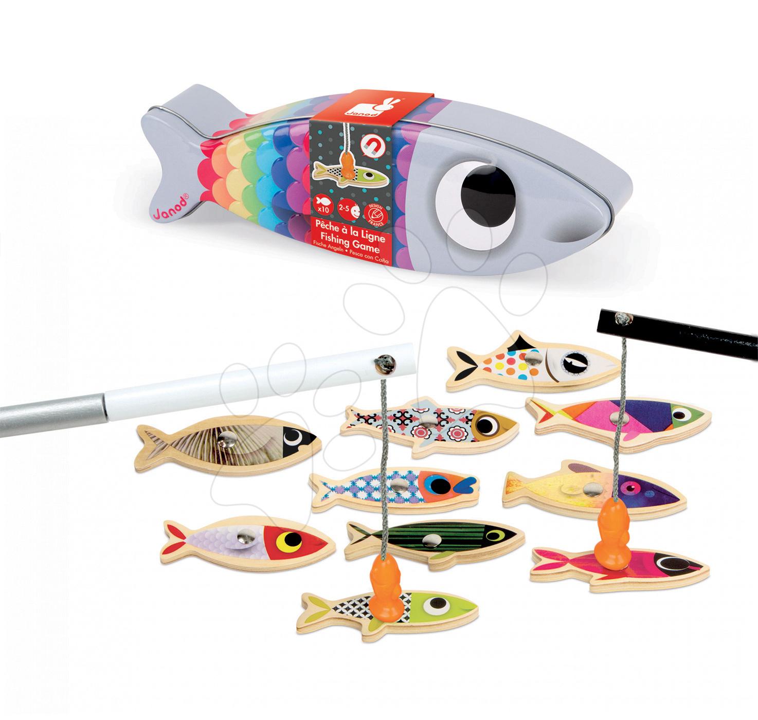 Hry na rybáře - Dřevěná magnetická hra na rybáře sardinky Janod s 10 rybičkami a 2 pruty od 24 měsíců