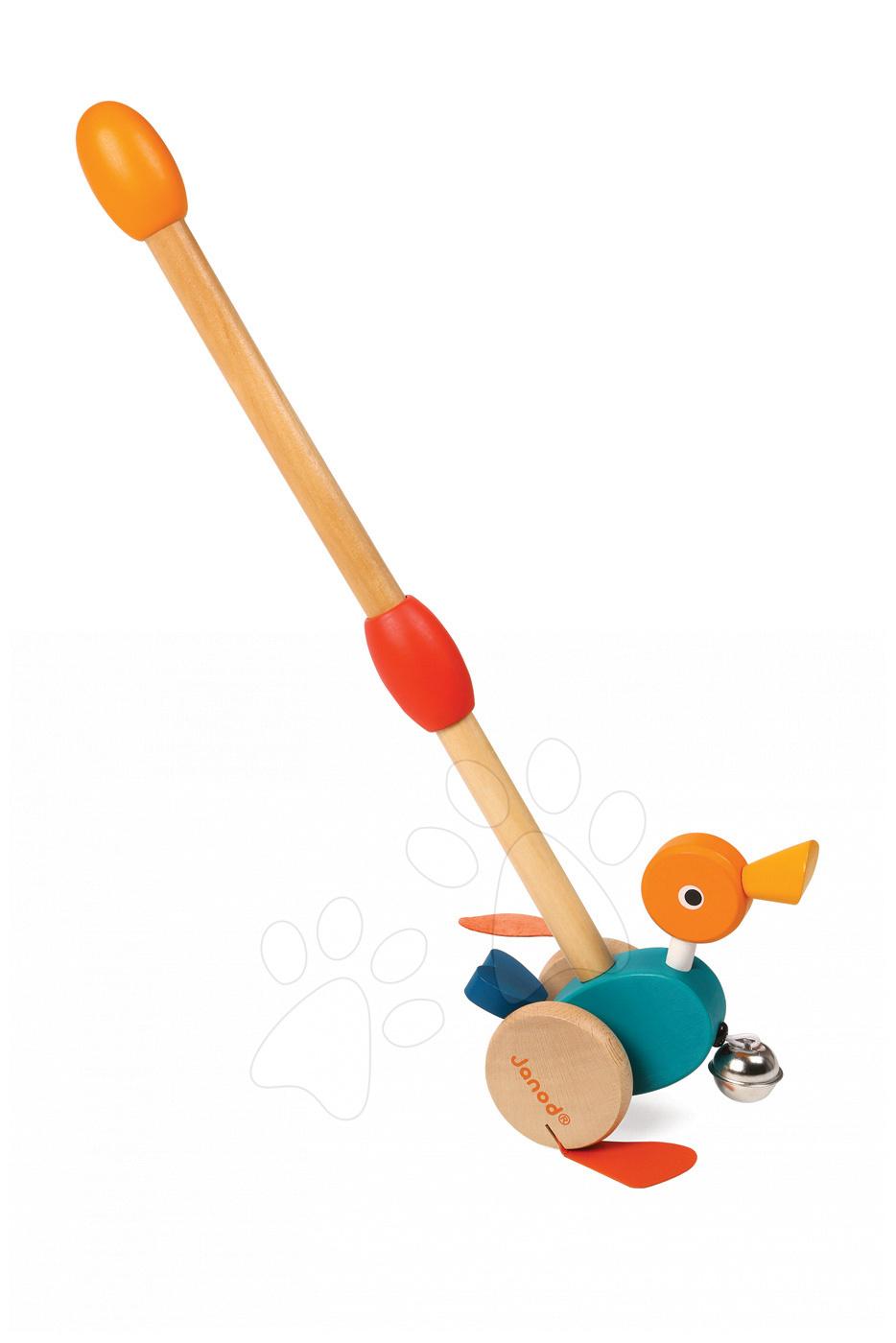 Ťahacie hračky - Drevená kačička Janod na tlačenie so zvončekom od 12 mes