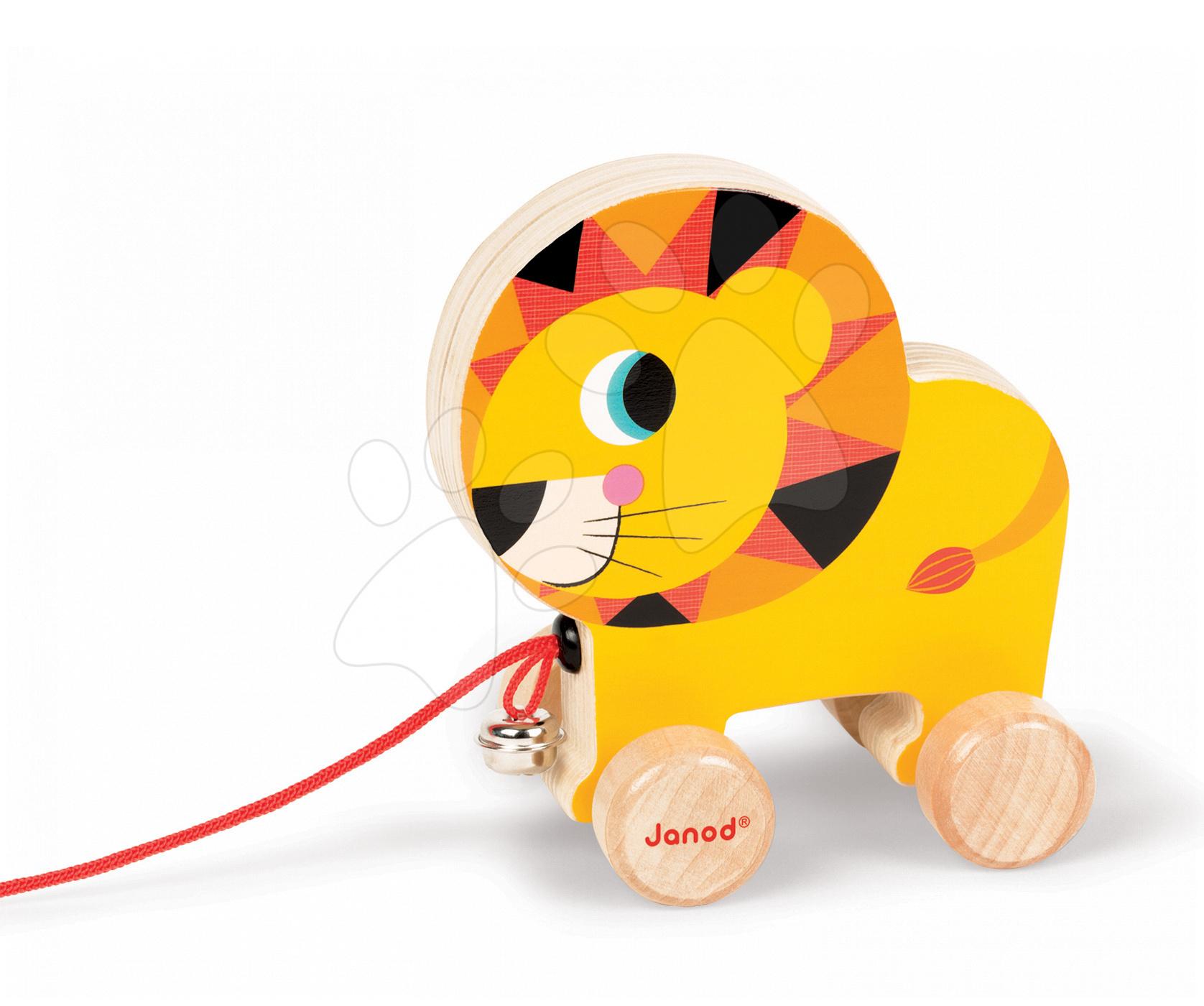 Dřevěný lev Janod zvířátko z cirkusu na tahání se zvonkem od 12 měsíců