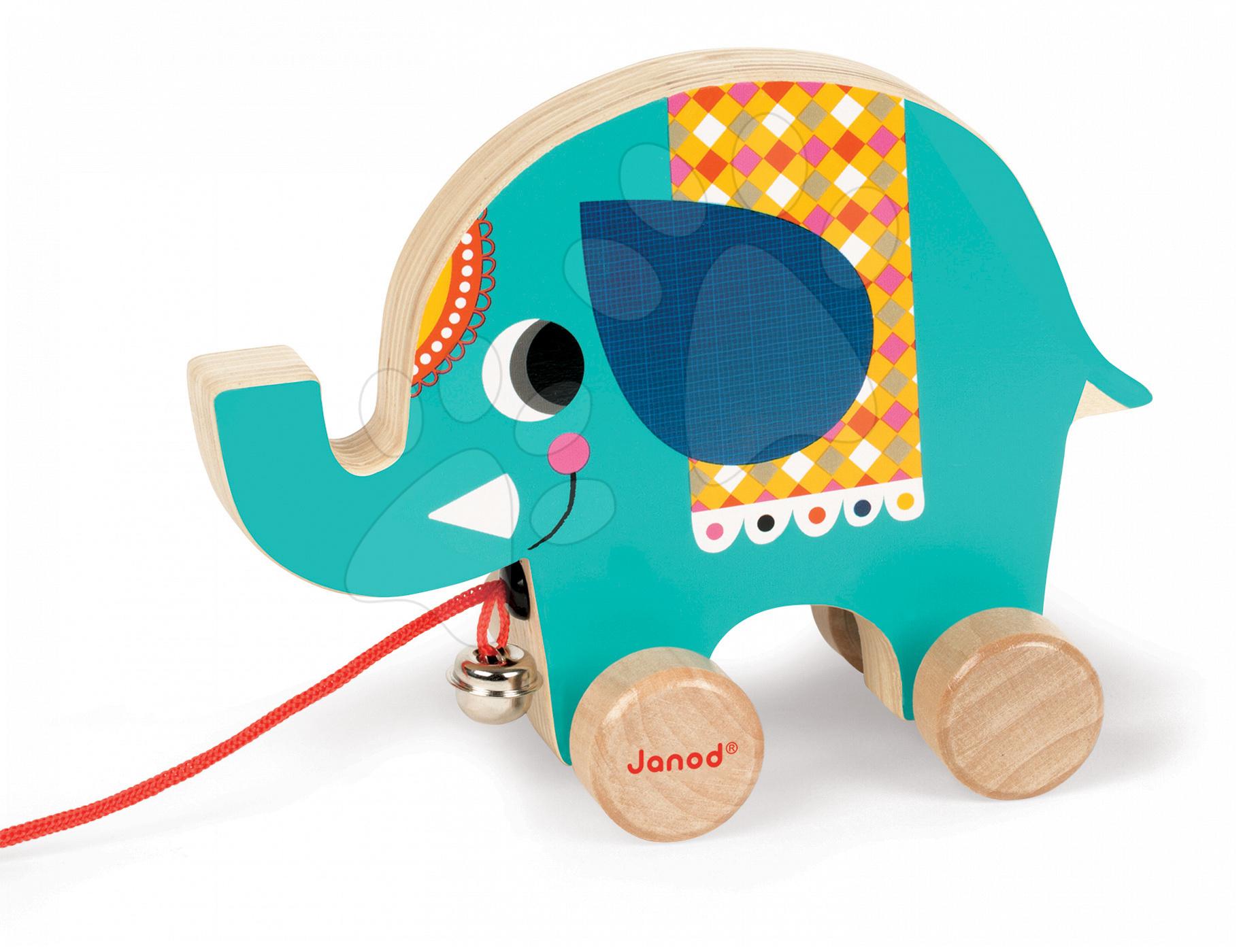 Dřevěný slon Janod zvířátko z cirkusu na tahání se zvonkem od 12 měsíců