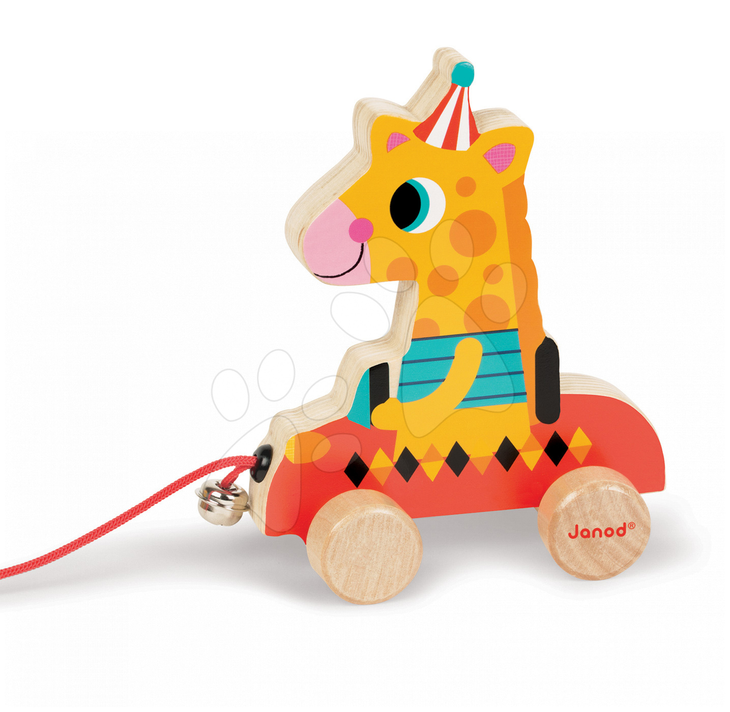 Dřevěná žirafa Janod zvířátko z cirkusu na tahání se zvonkem od 12 měsíců