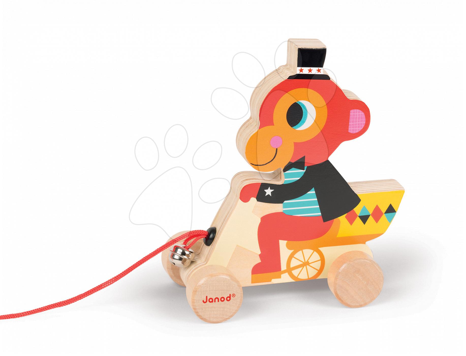 Dřevěná opička Janod zvířátko z cirkusu na tahání se zvonkem od 12 měsíců