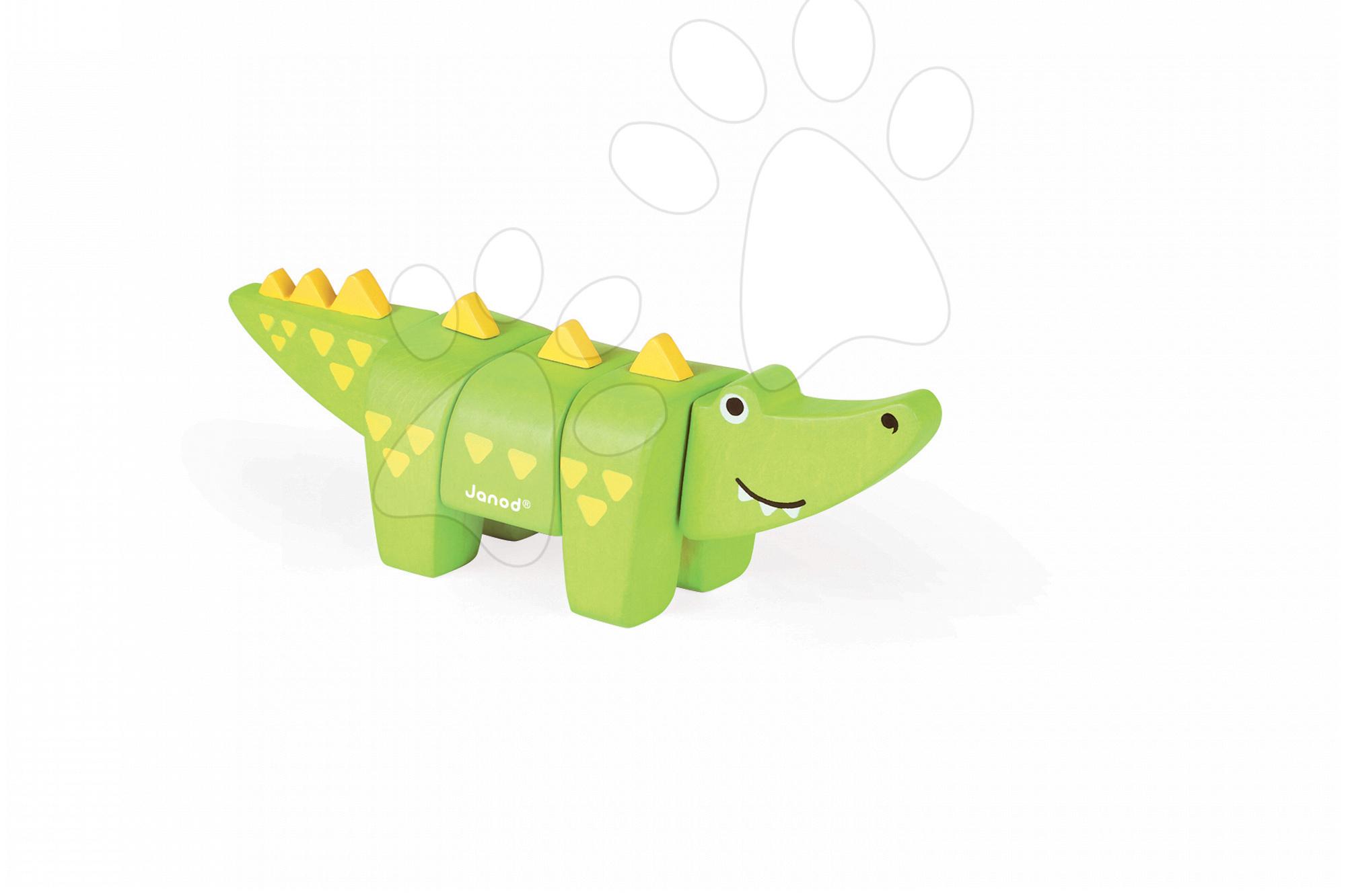 Dřevěné zvířátko krokodýl Janod skládací 5 dílů od 24 měsíců