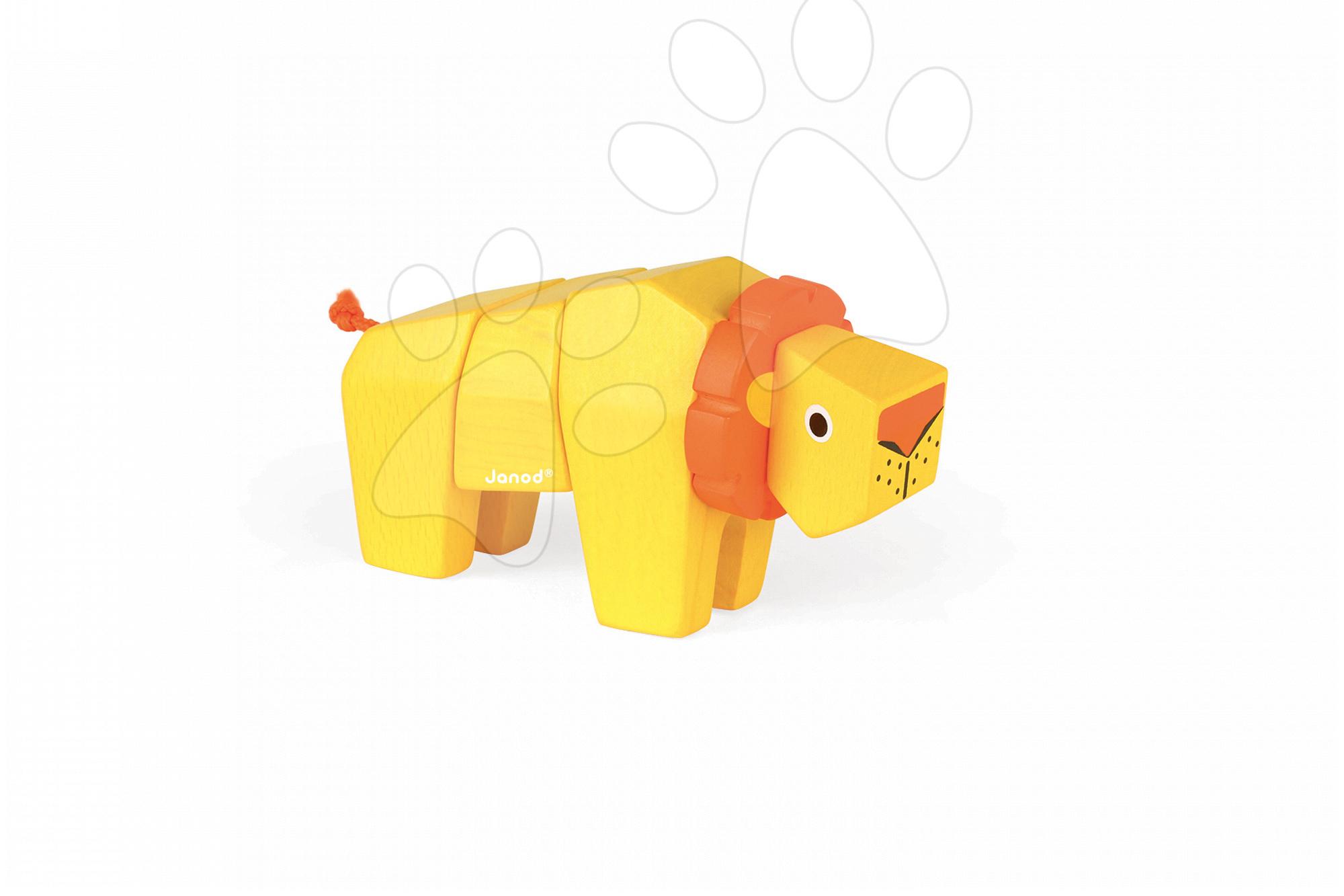 Vývoj motoriky - Drevené zvieratko lev Janod skladacie 4 diely od 24 mes