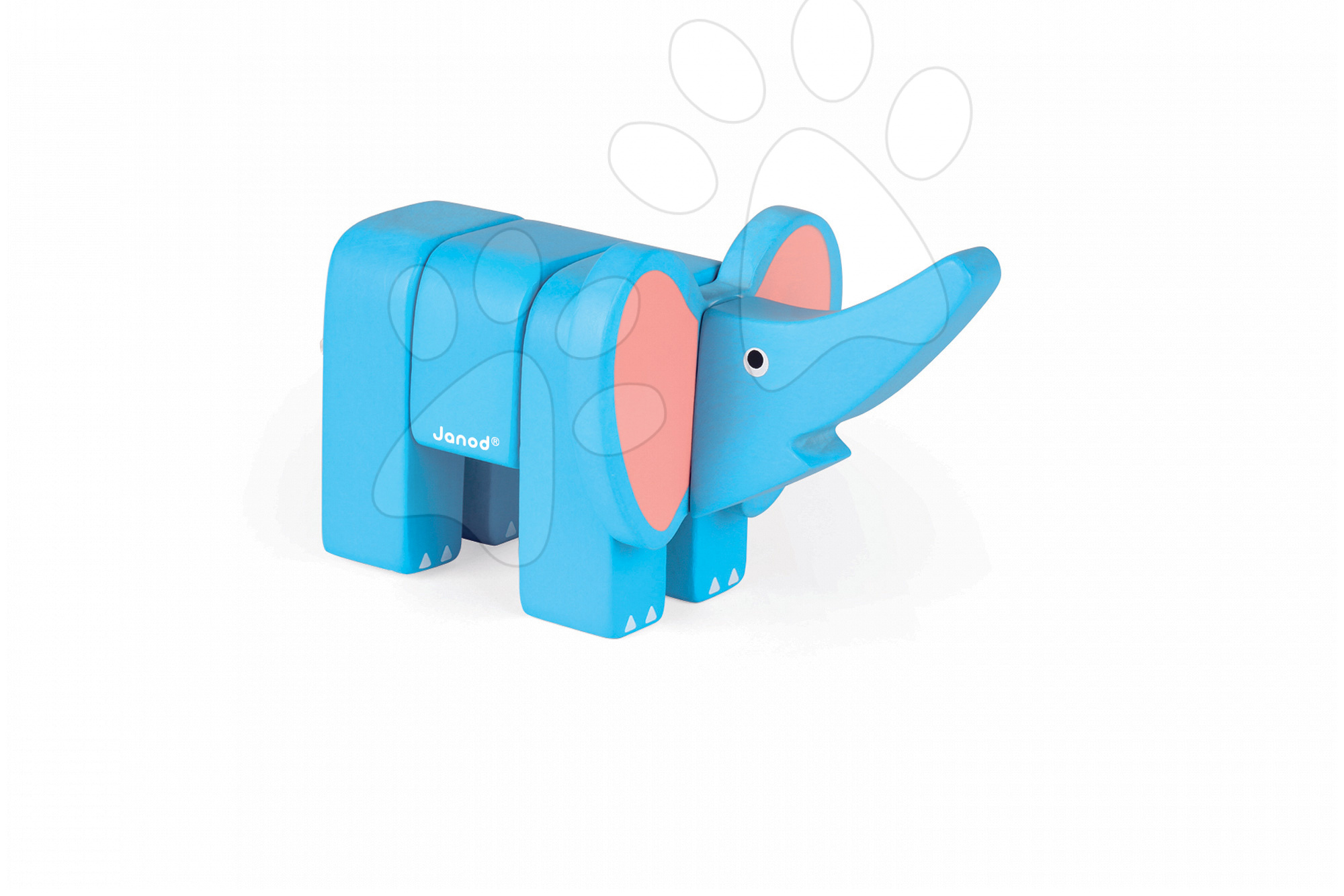 Drevené hračky pre najmenších - Drevené zvieratko slon Janod skladacie 4 diely od 24 mes