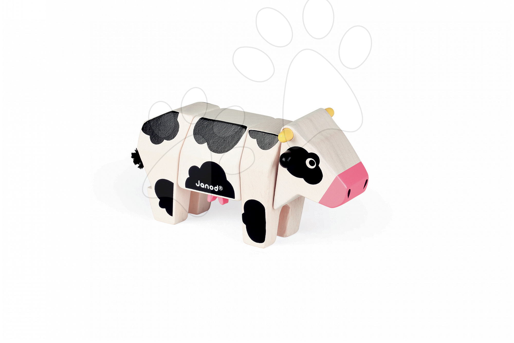 Drevené hračky pre najmenších - Drevené zvieratko kravička Janod skladacie 4 diely od 24 mes