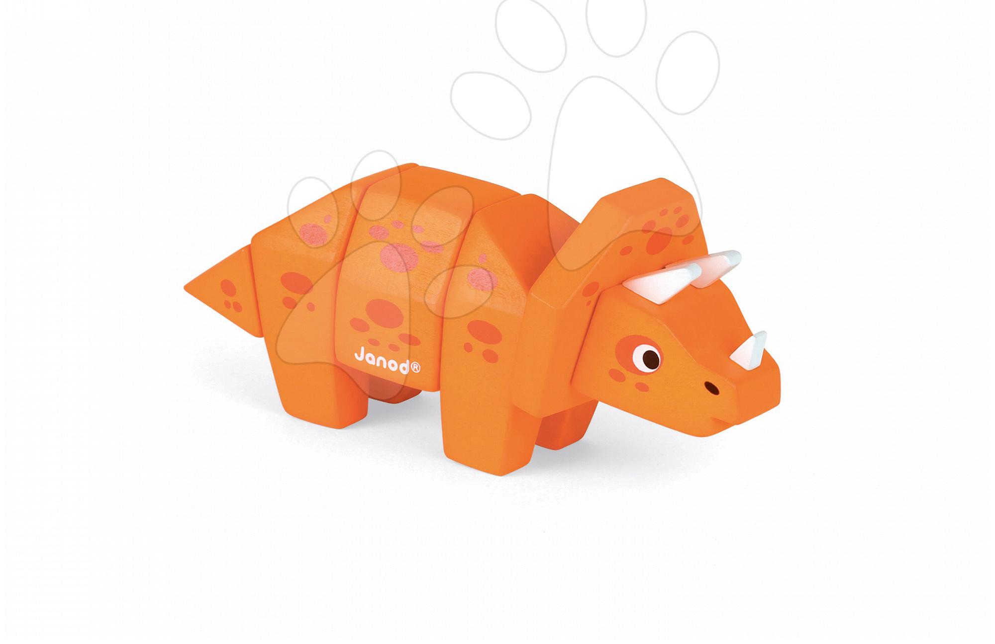 Vývoj motoriky - Drevené zvieratko Dino Triceratops Janod skladacie 5 dielov od 24 mes