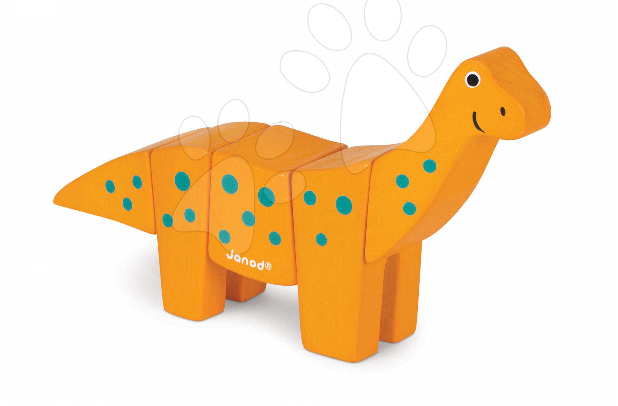 Drevené hračky pre najmenších - Drevené zvieratko Dino Brachiosaurus Janod skladacie 5 dielov od 24 mes