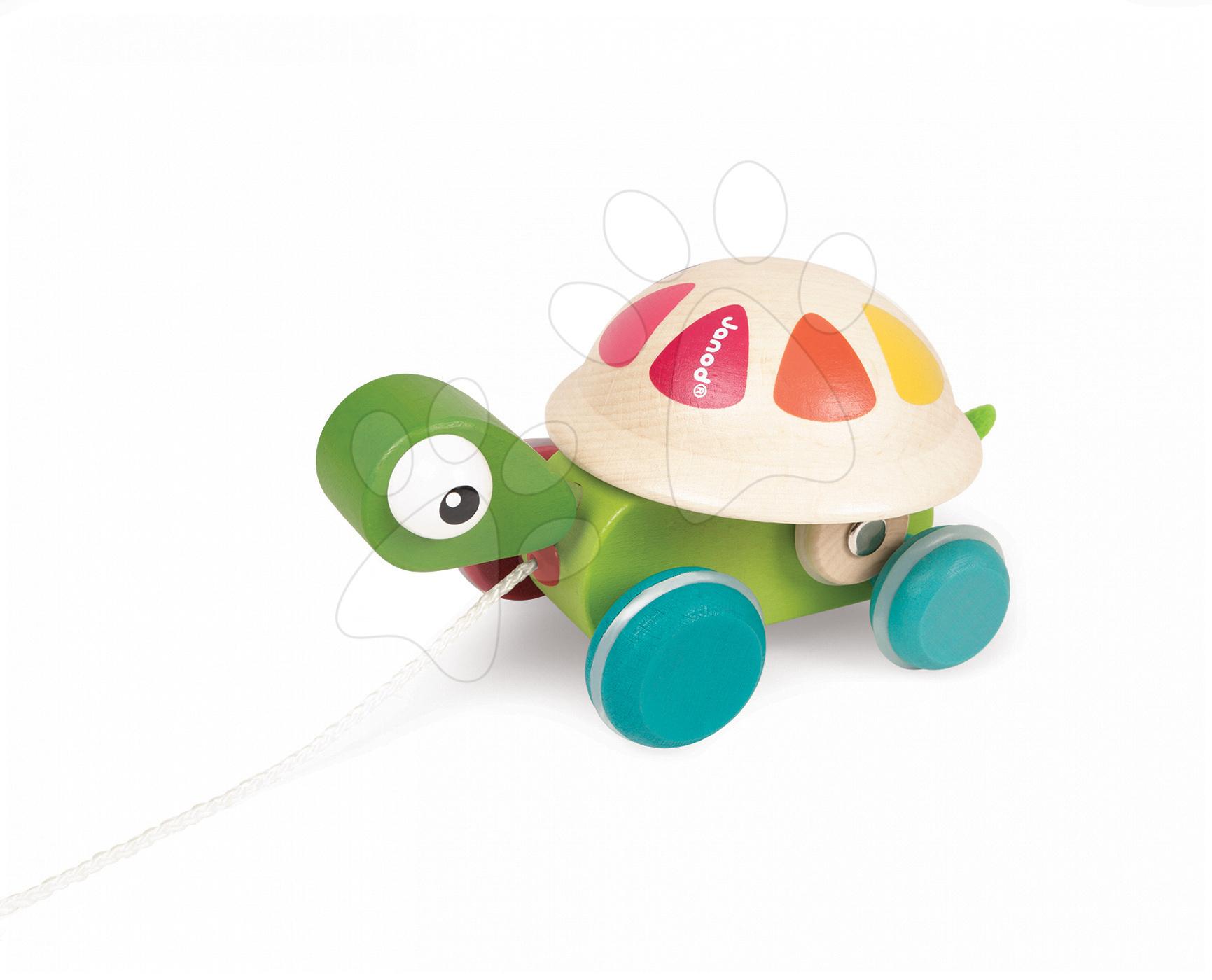 Ťahacie hračky - Drevená korytnačka Pull Along Janod na ťahanie od 12 mes
