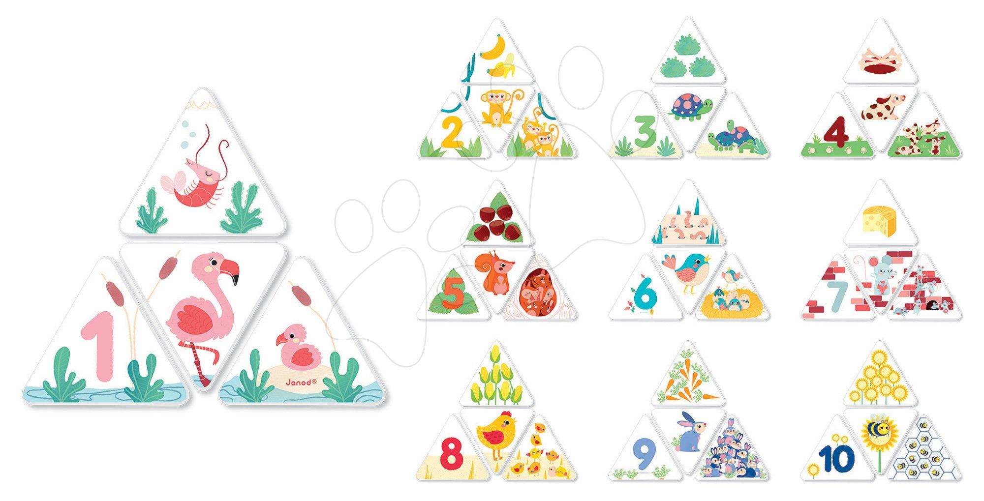 Cudzojazyčné spoločenské hry - Spoločenská hra Matching 123 Number Game Janod od 3 rokov