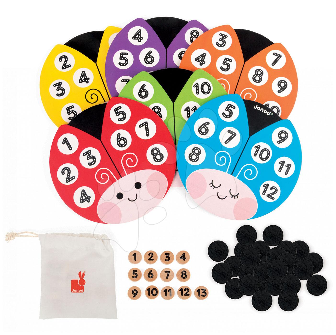 Společenská hra Loto Coccicolor Bingo Game Janod 6 hracích karet, 13 dřevěných žetonů a 48 černých žetonů od 3 let
