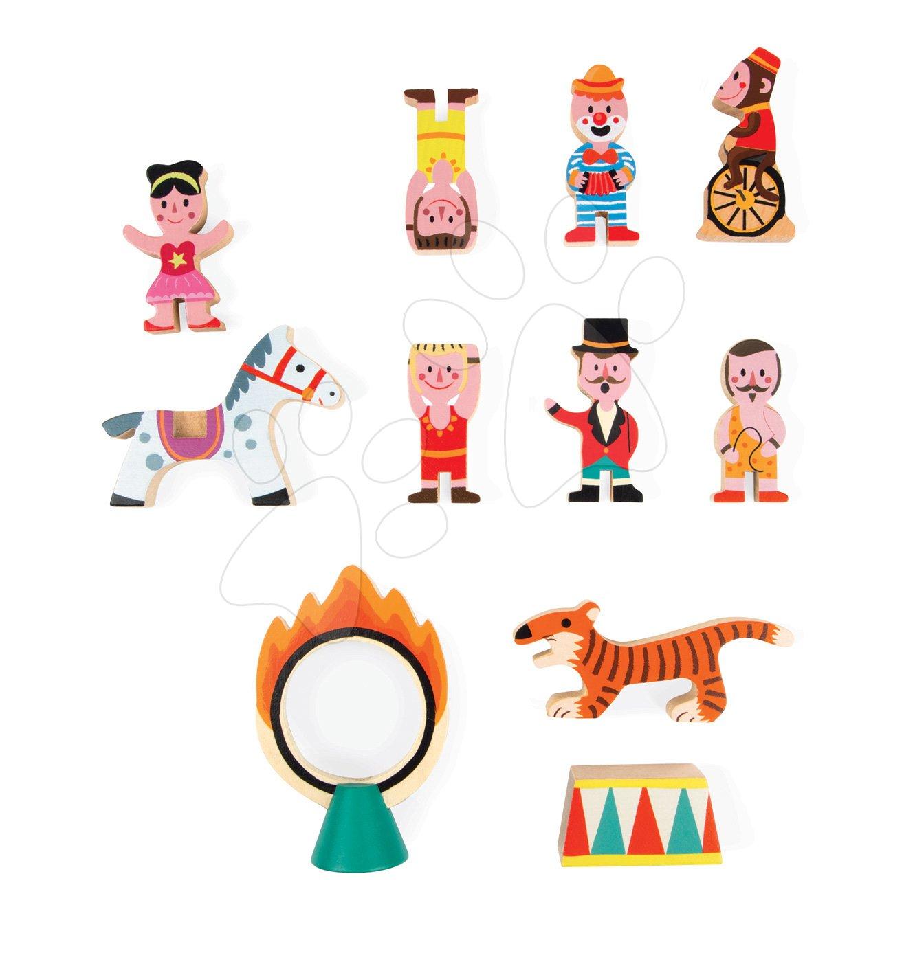 Dřevěná pohádka Cirkus a akrobaté se zvířátky Mini Story Janod se 7 postavičkami od 3 let