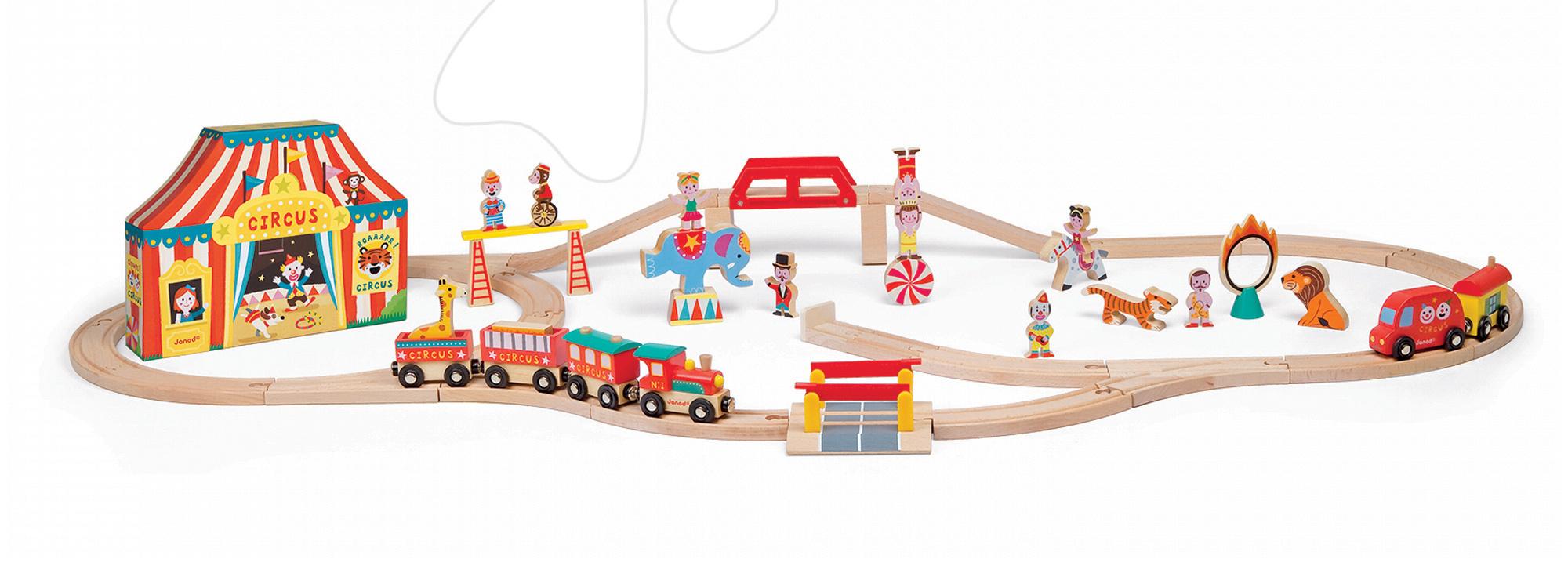 Autodráhy - Drevená magnetická stavebnica Express cirkus Story Set Janod