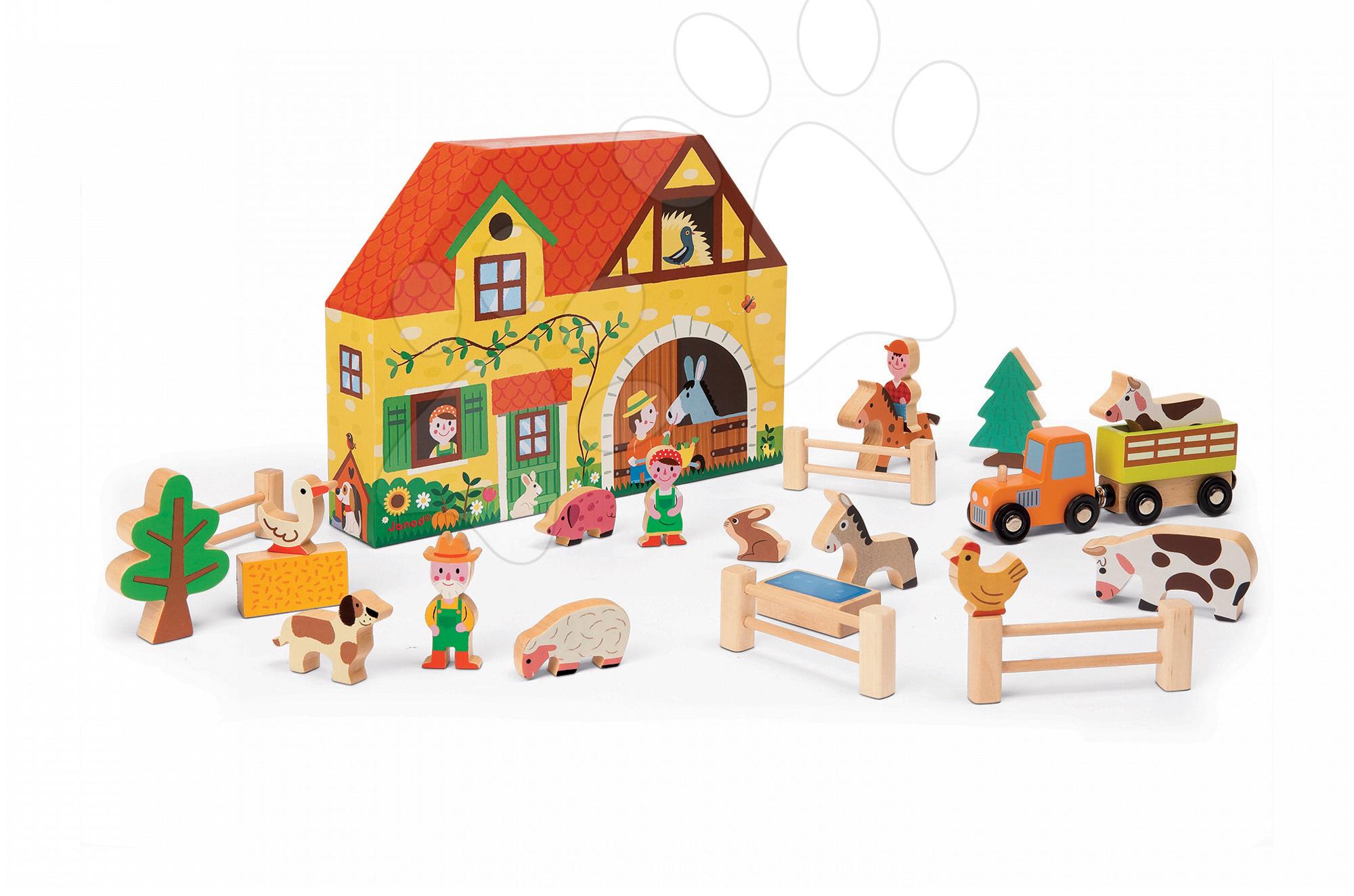 Garáže - Drevená stavebnica Farma Story Set Box Janod so zvieratkami 23 dielov