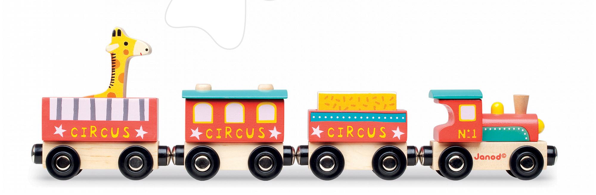Poľnohospodárske stroje - Drevený magnetický vláčik Cirkus Story Set Janod so žirafou od 18 mes